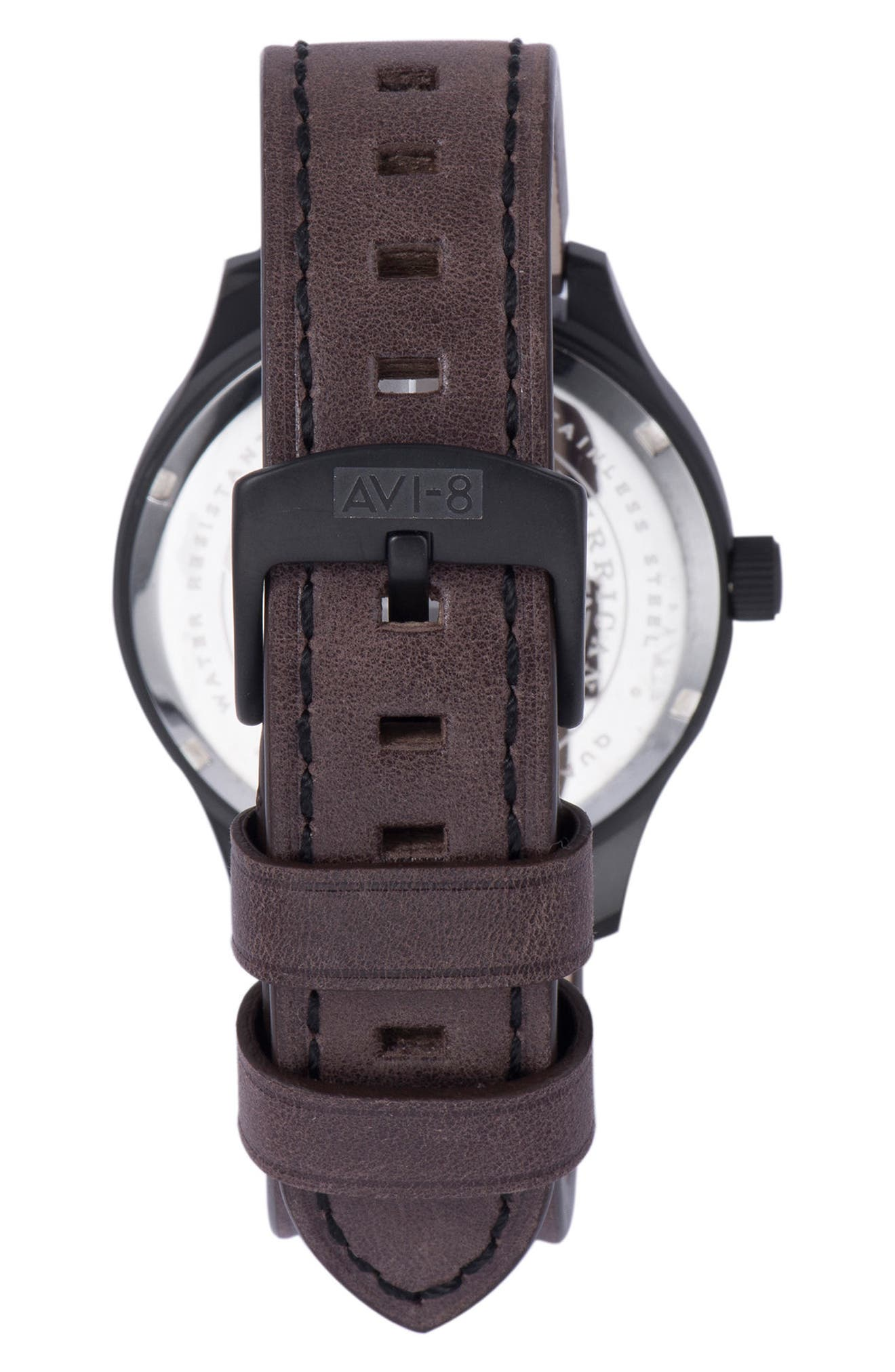 Hawker Hurricane Leather Strap Watch, 43mm,                             Alternate thumbnail 3, color,                             Black/ Dark Brown