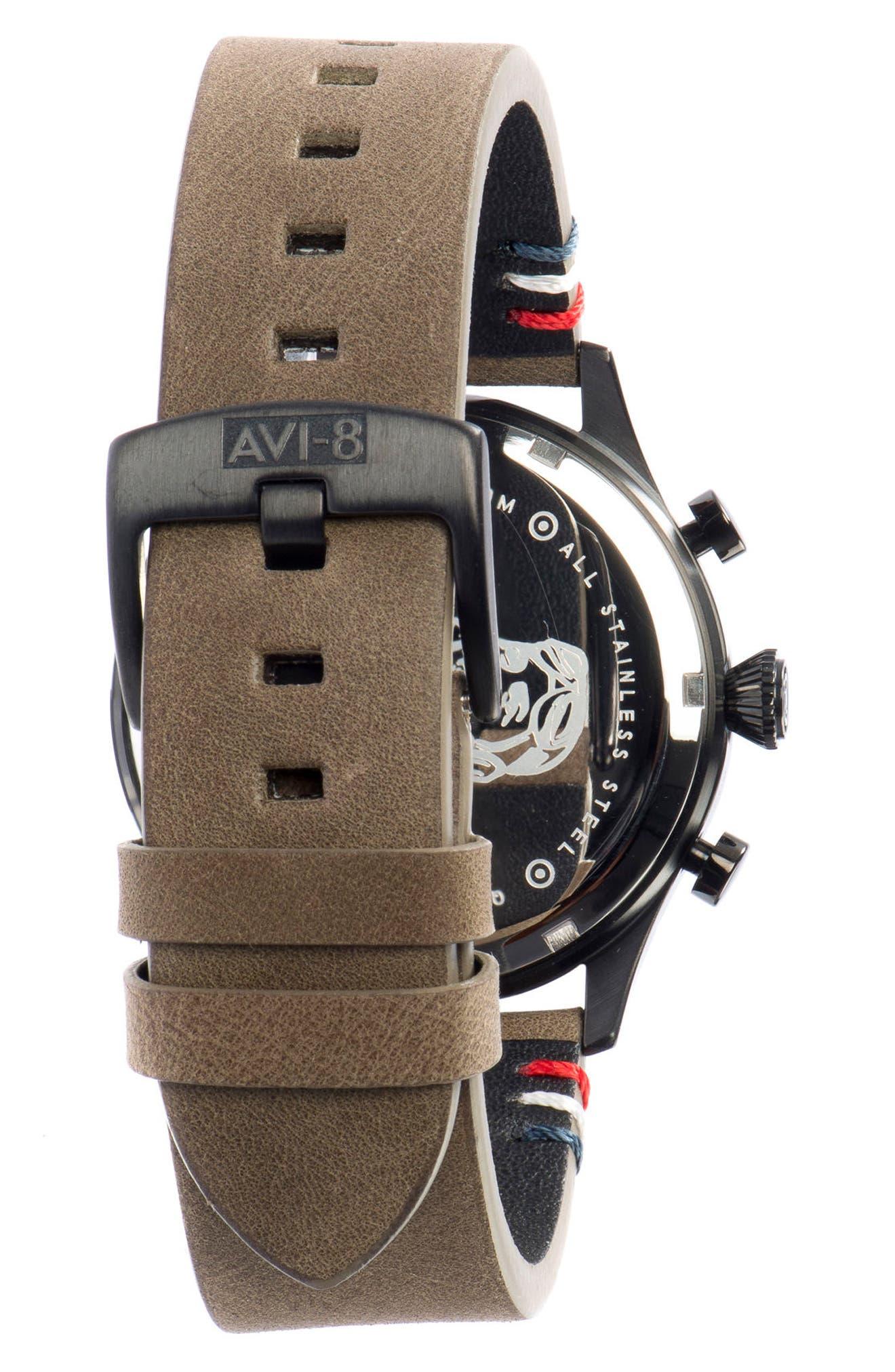 Alternate Image 2  - AVI-8 Flyboy Lafayette Chronograph Leather Strap Watch, 42mm