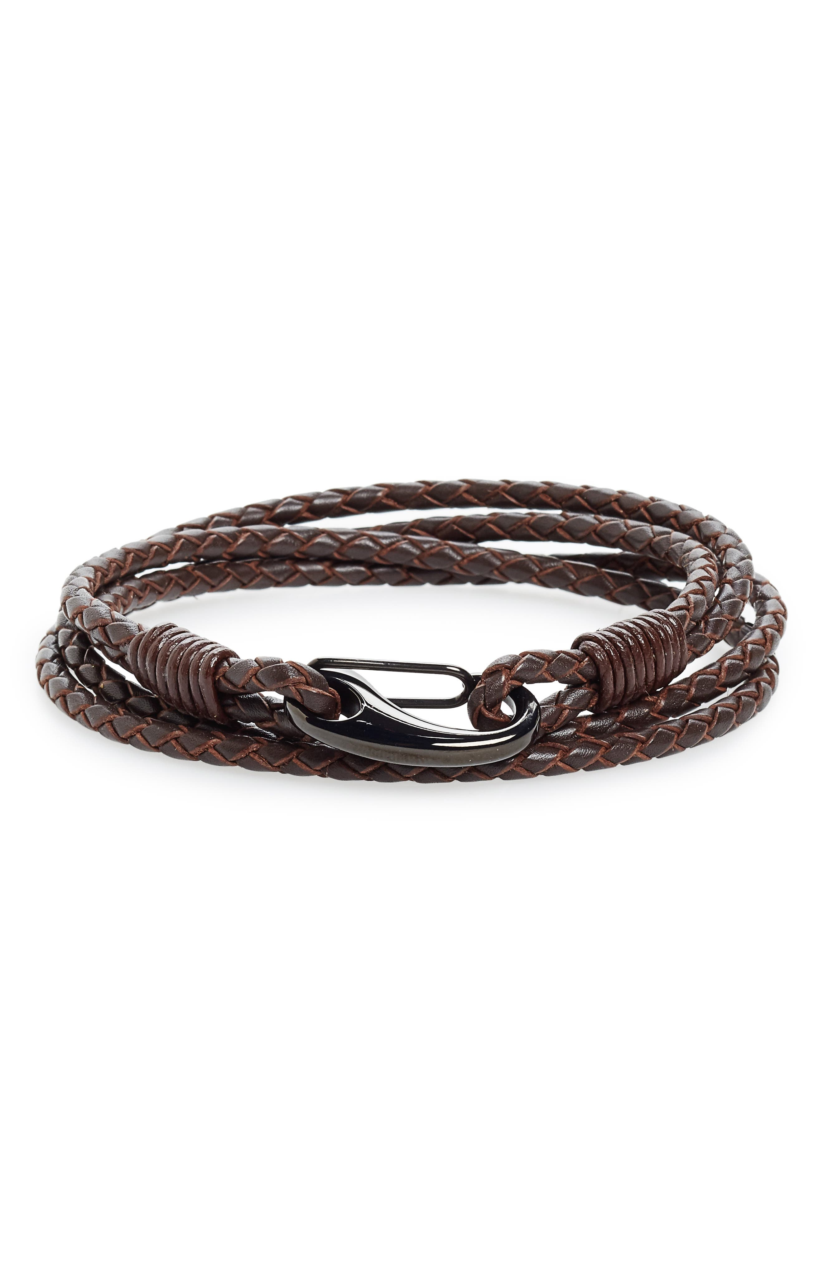 Braided Leather Wrap Bracelet,                         Main,                         color, Brown