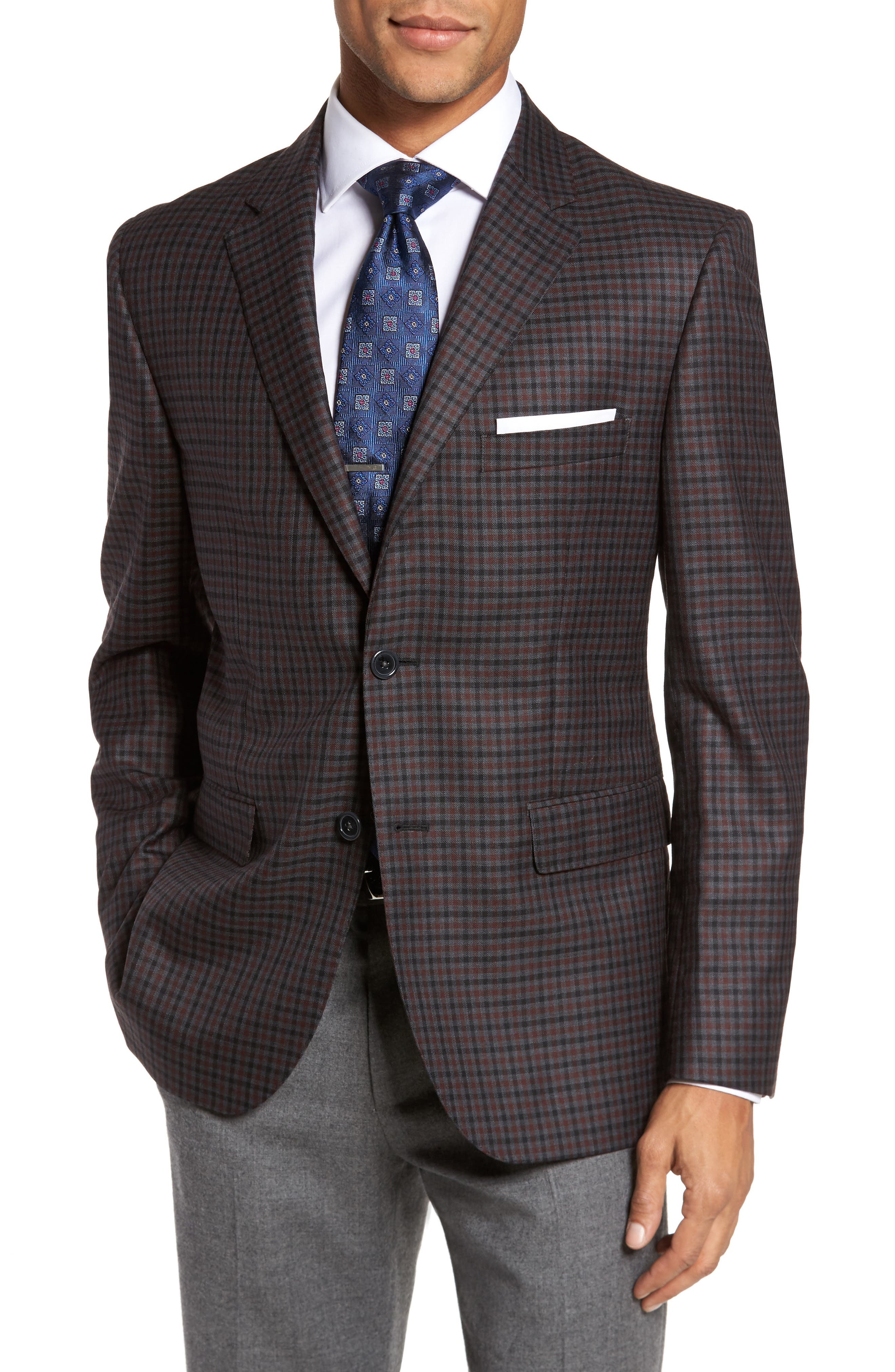 Classic Fit Check Wool Sport Coat,                         Main,                         color, Grey