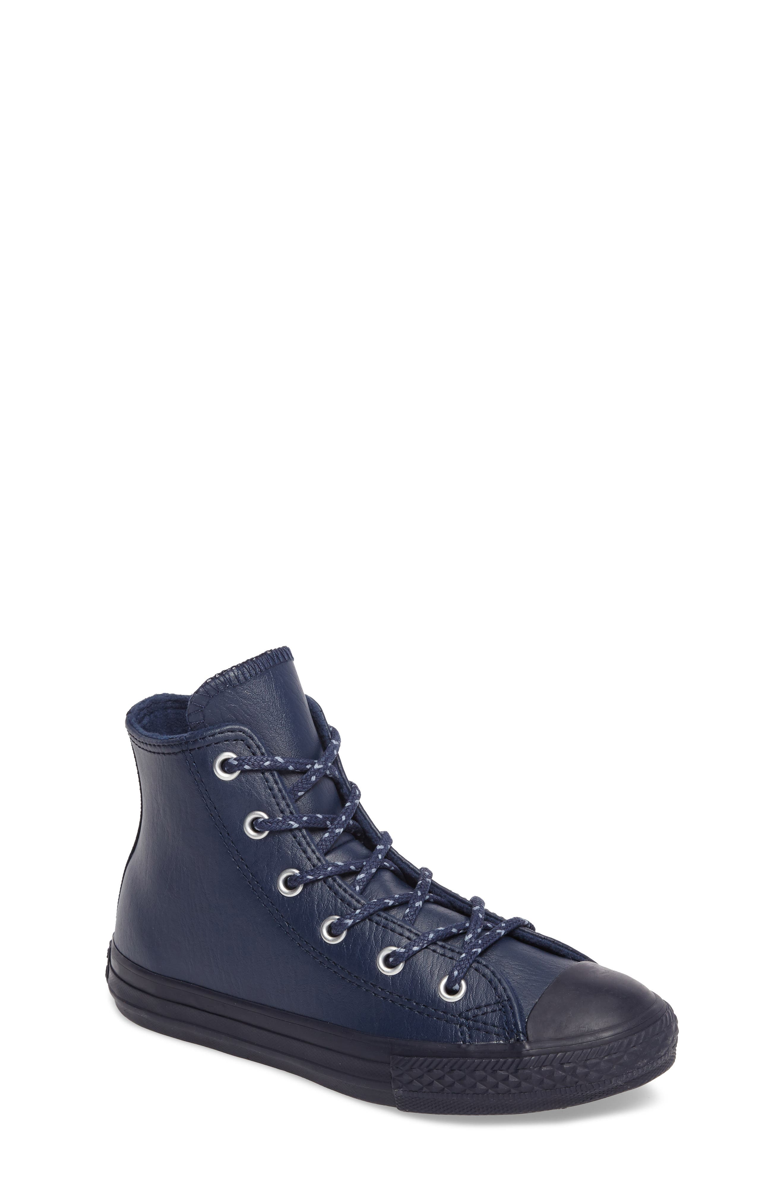 Main Image - Converse Chuck Taylor® All Star® Leather High Top Sneaker (Toddler & Little Kid)