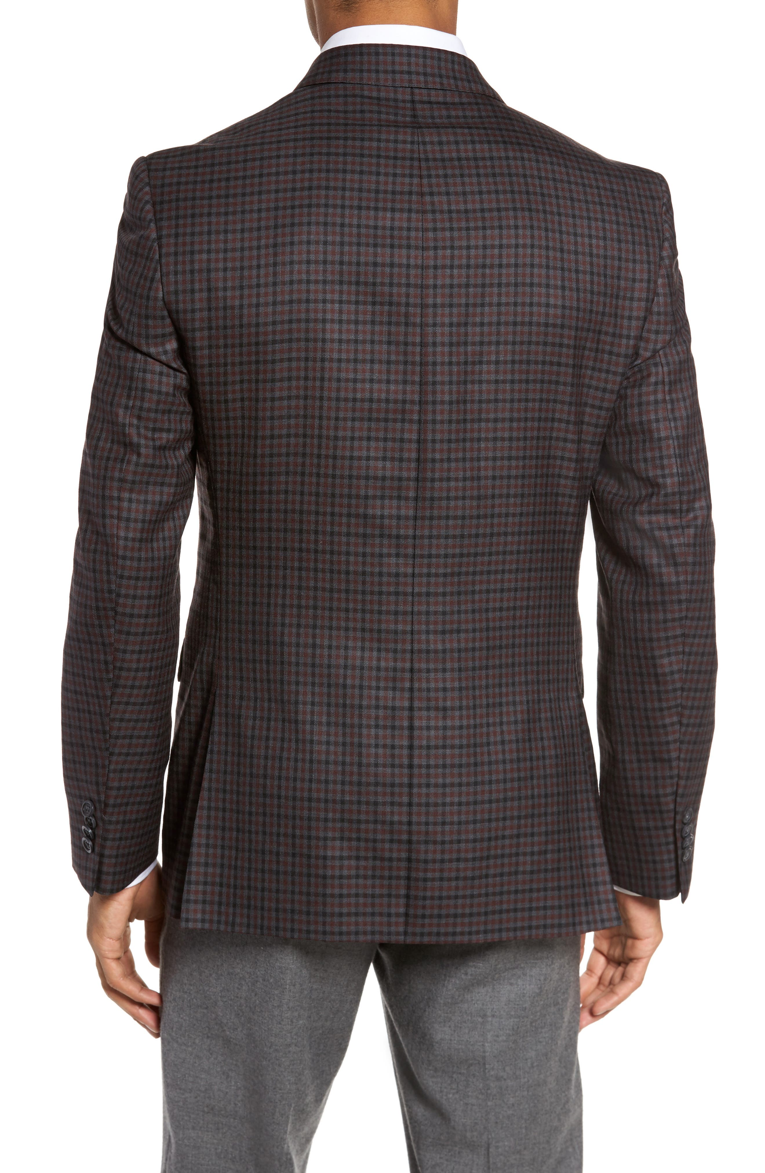 Classic Fit Check Wool Sport Coat,                             Alternate thumbnail 2, color,                             Grey