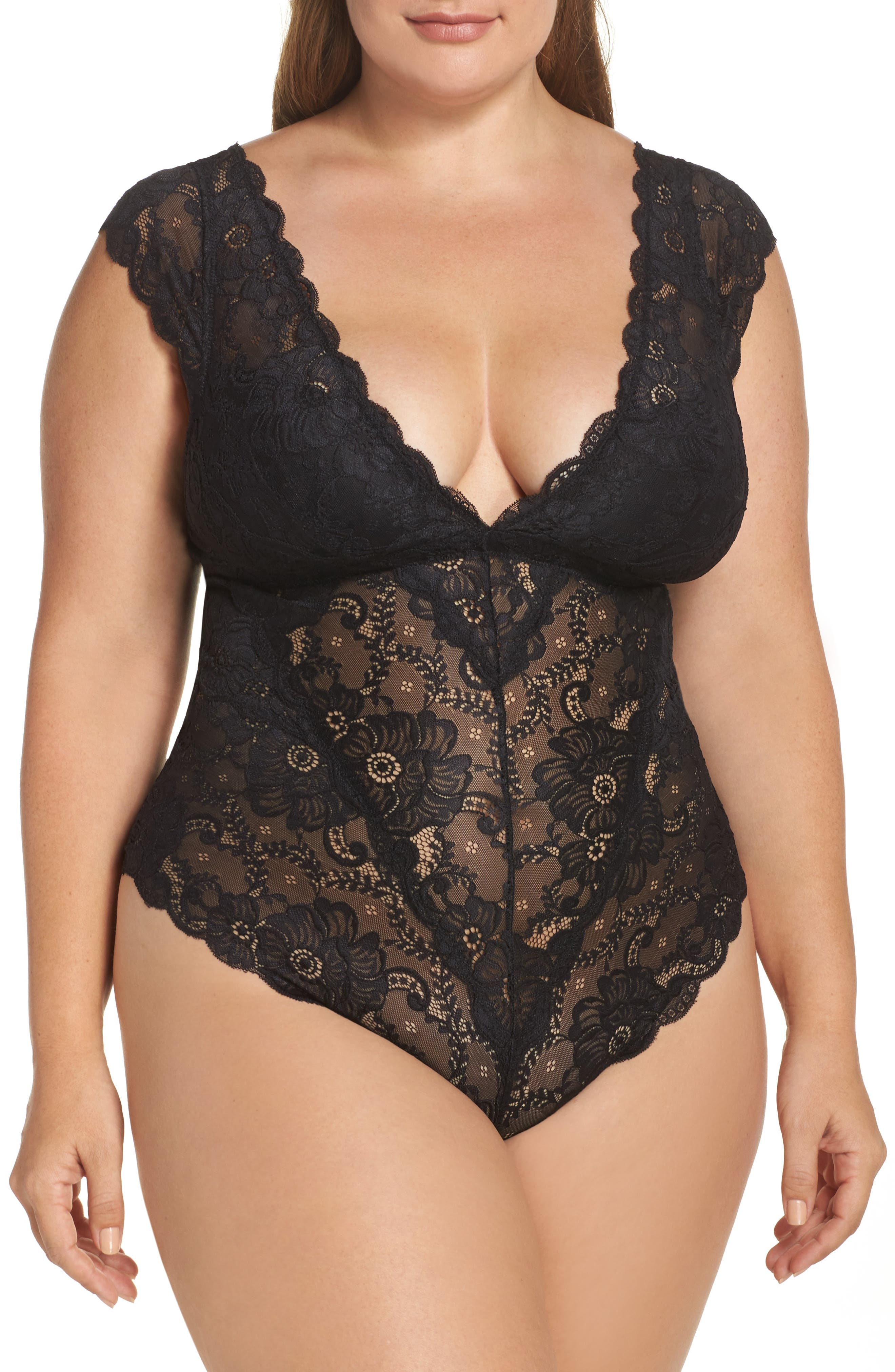 Suzette Lace Teddy,                         Main,                         color, Black
