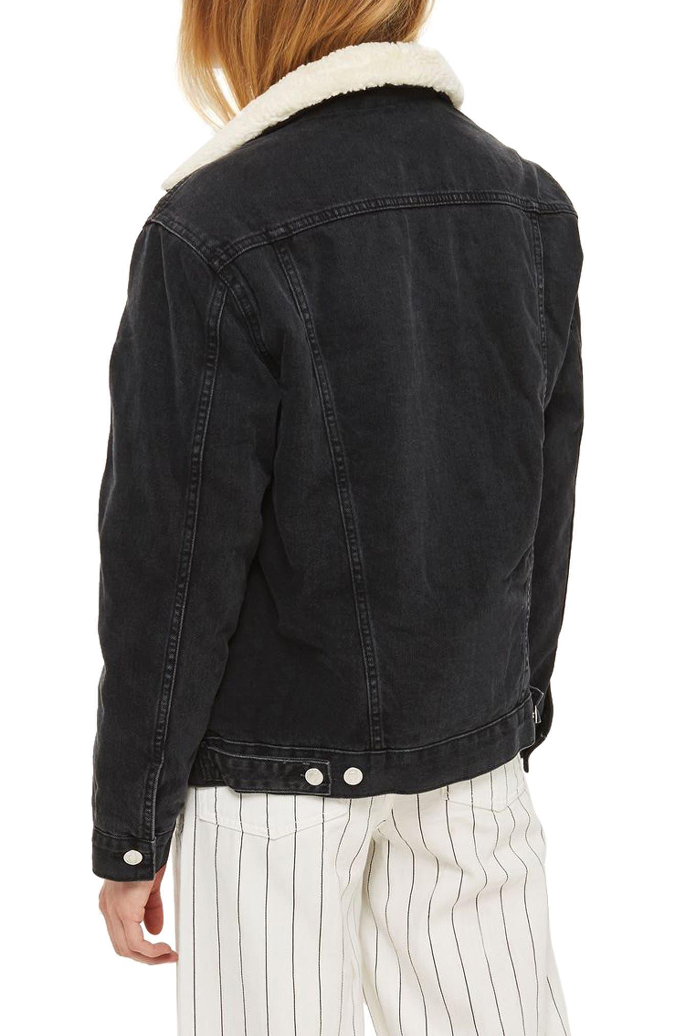 Alternate Image 2  - Topshop Borg Oversize Denim Jacket