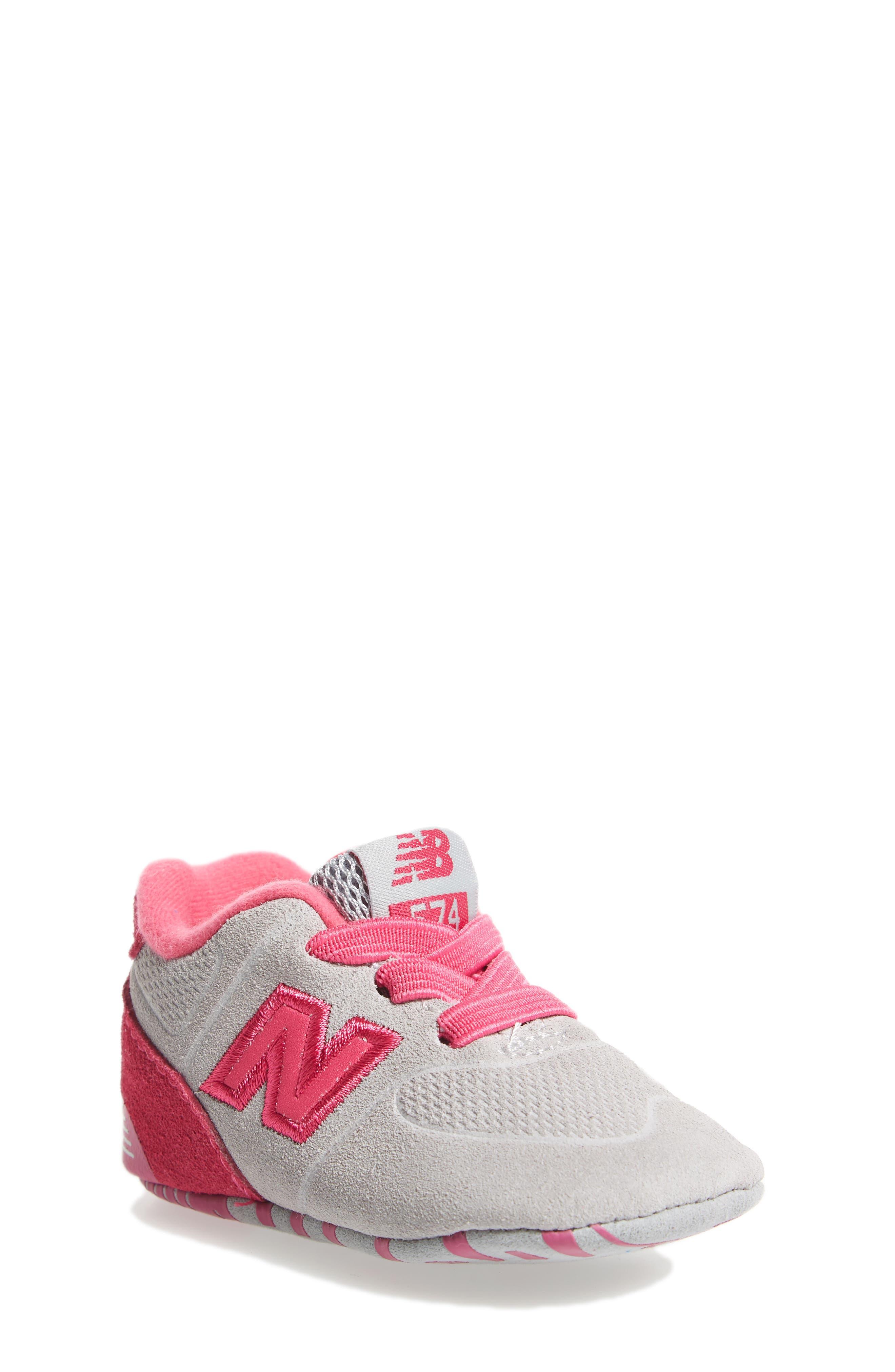 574 Crib Shoe,                         Main,                         color, Pink/ Grey