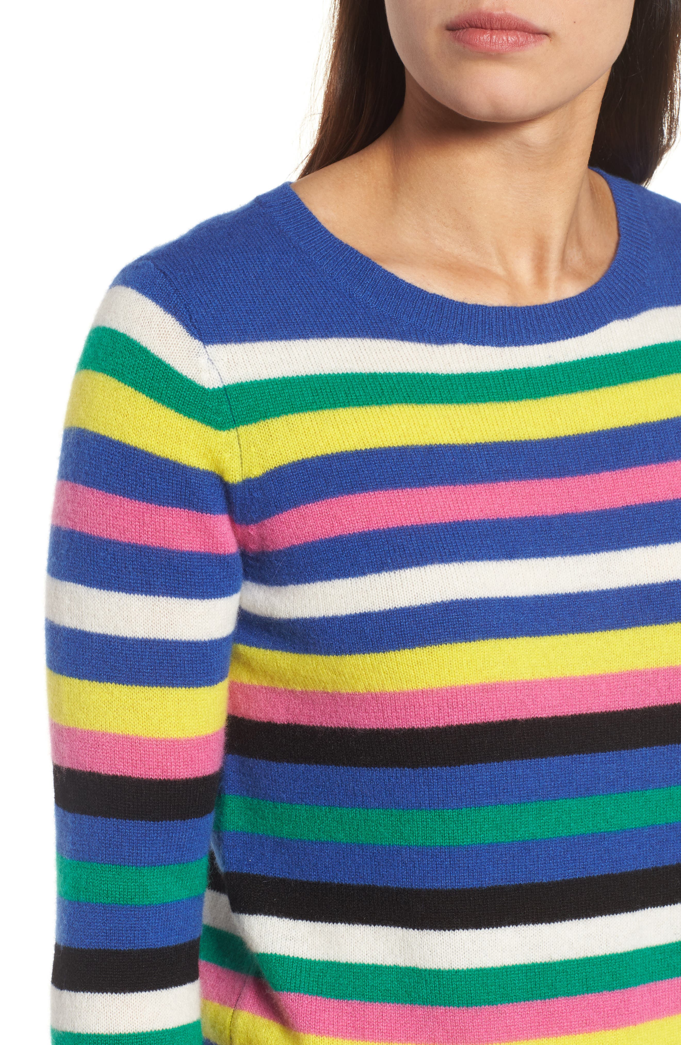 Alternate Image 4  - Halogen® Stripe Cashmere Sweater (Regular & Petite)