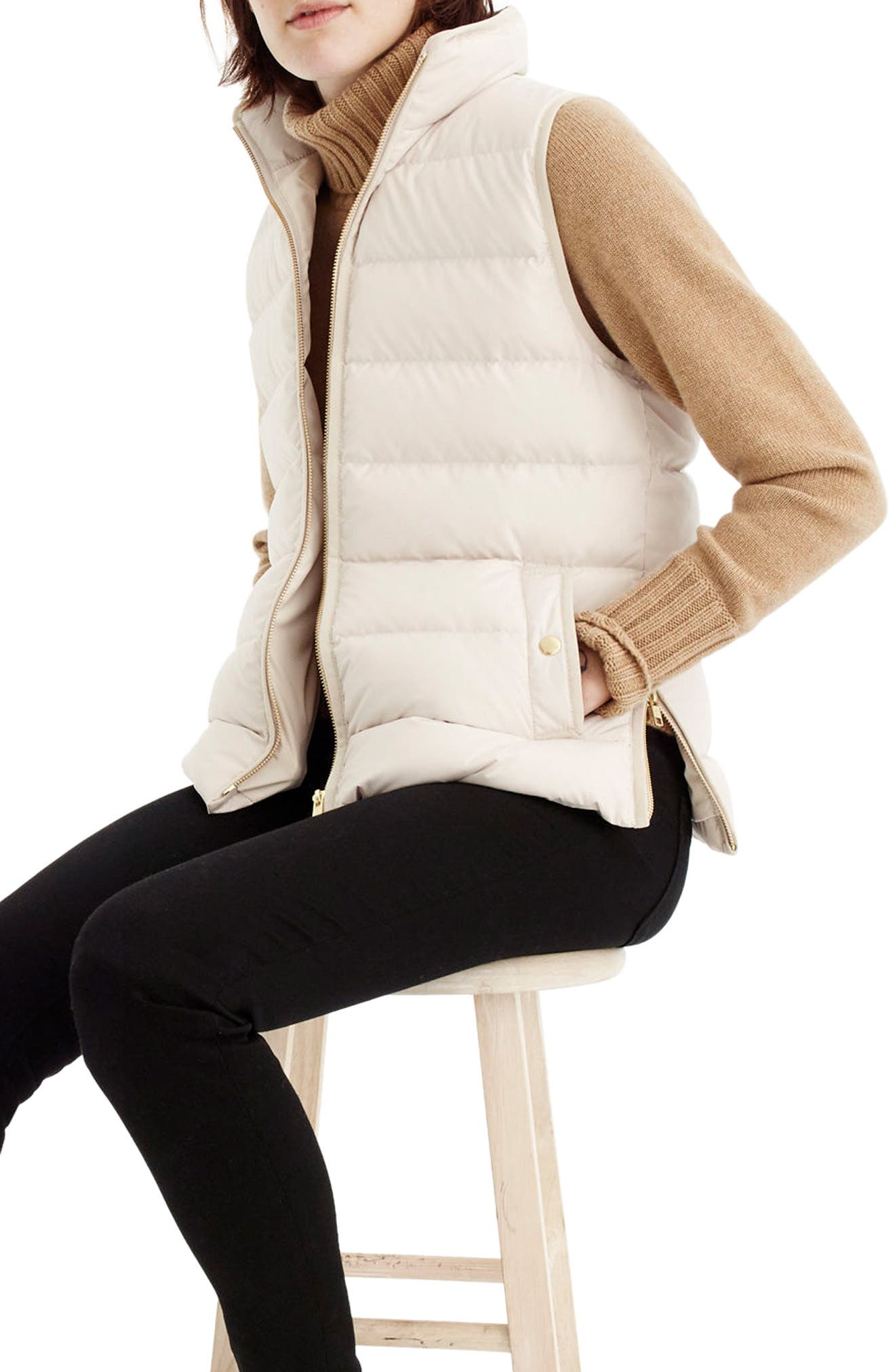 Alternate Image 1 Selected - J.Crew Anthem Down & Feather Fill Puffer Vest (Regular & Petite)