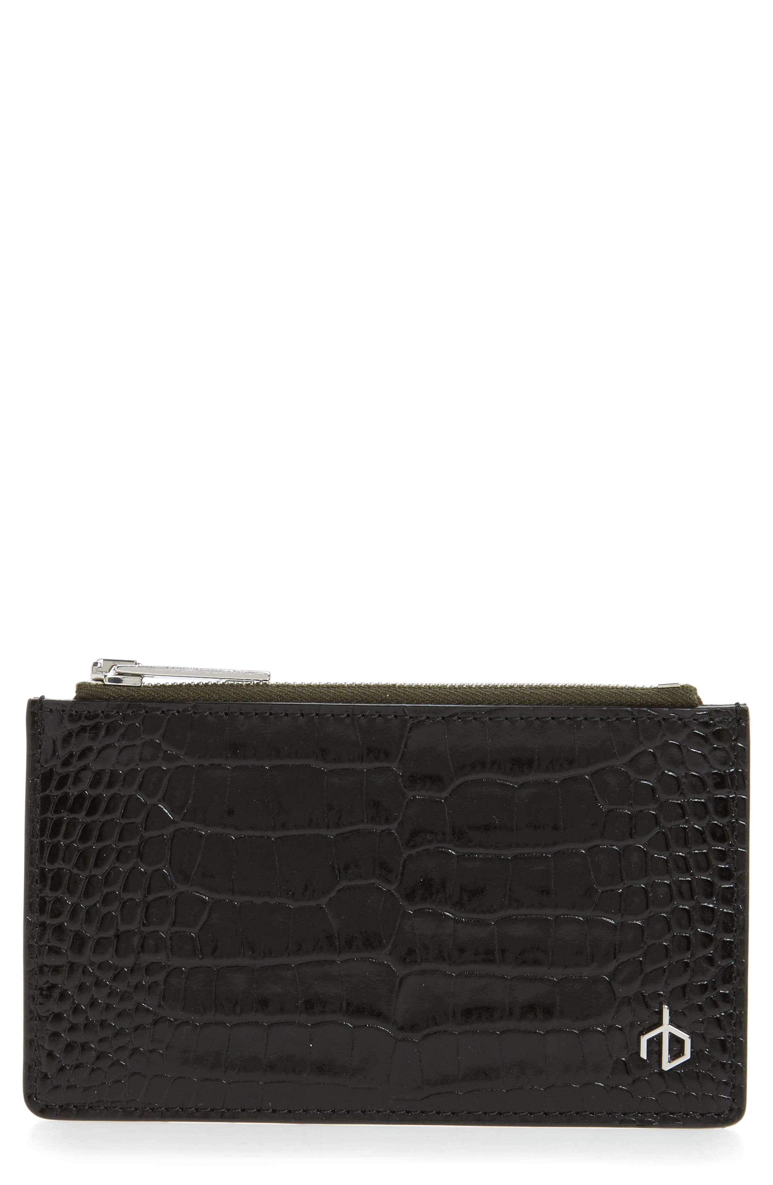Croc Embossed Leather Zip Card Case,                             Main thumbnail 1, color,                             Black Croco