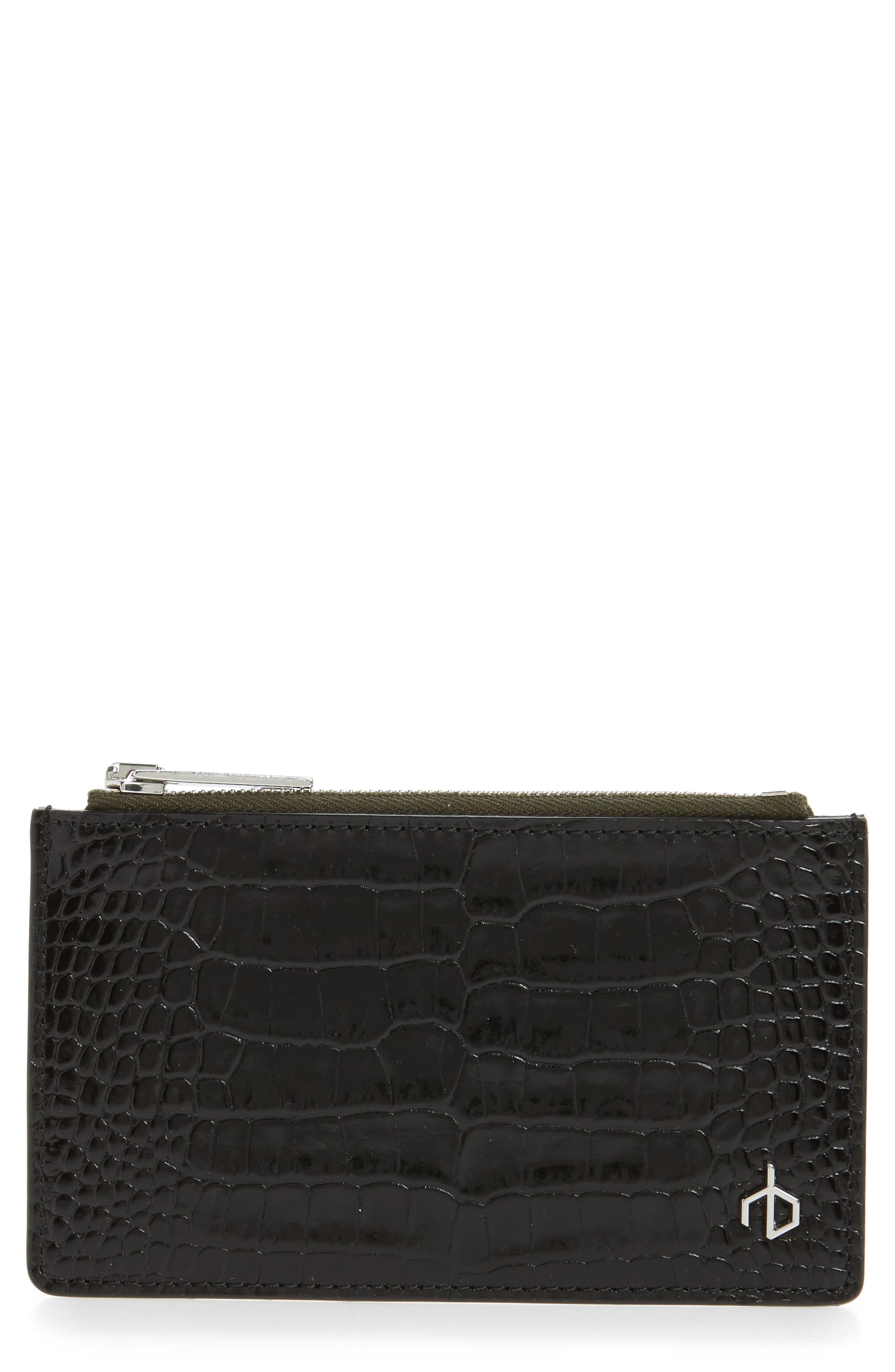 Main Image - rag & bone Croc Embossed Leather Zip Card Case