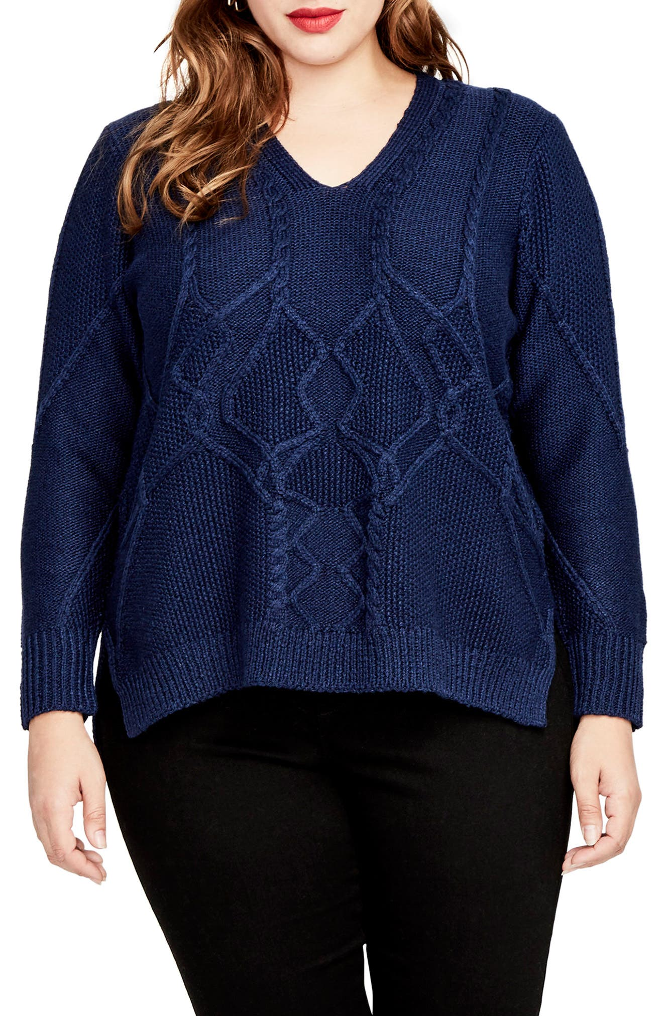 Mixed Cable Sweater,                         Main,                         color, Blue Navy