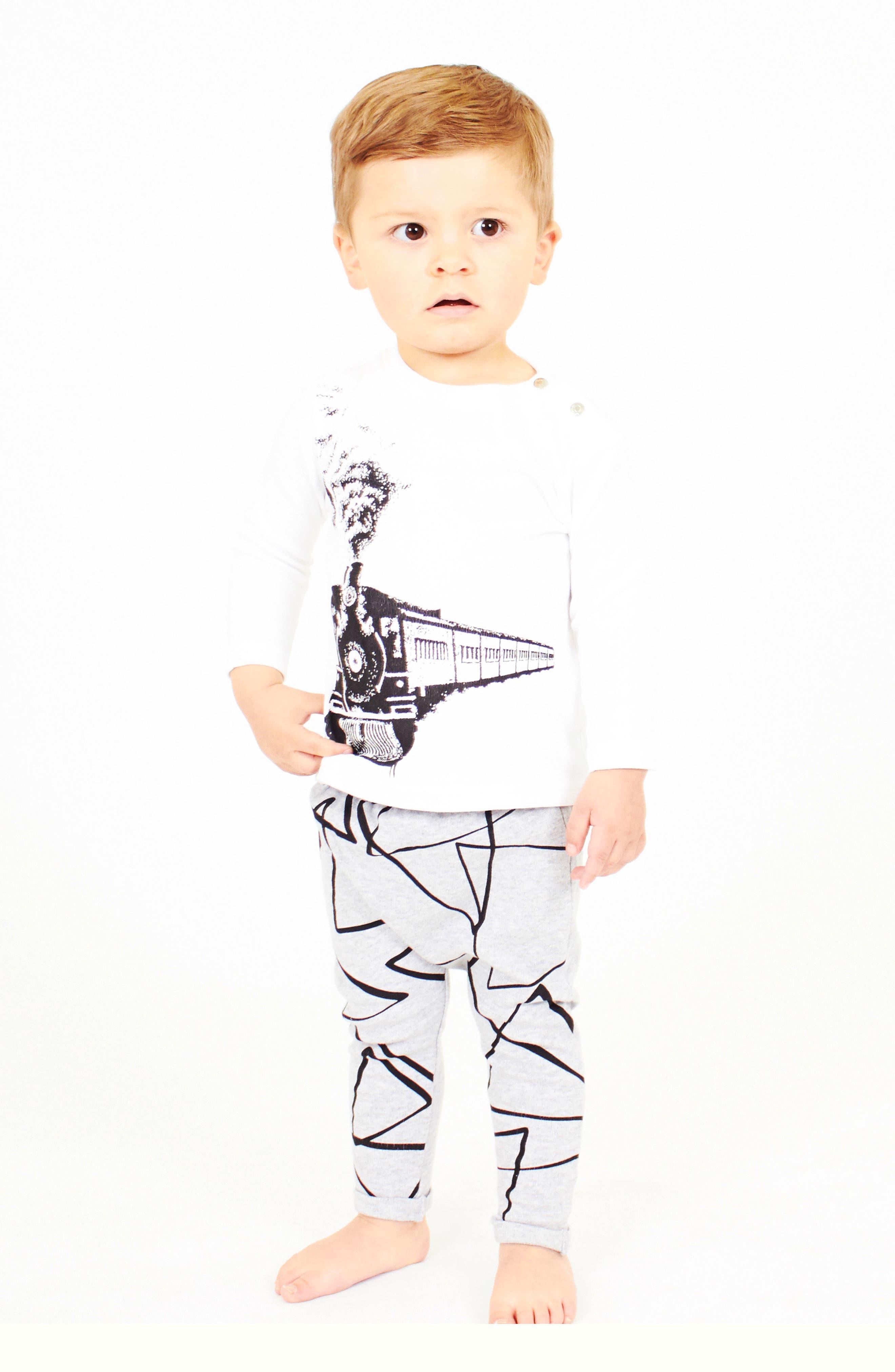 Train T-Shirt & Leggings Set,                             Alternate thumbnail 3, color,                             White And Grey