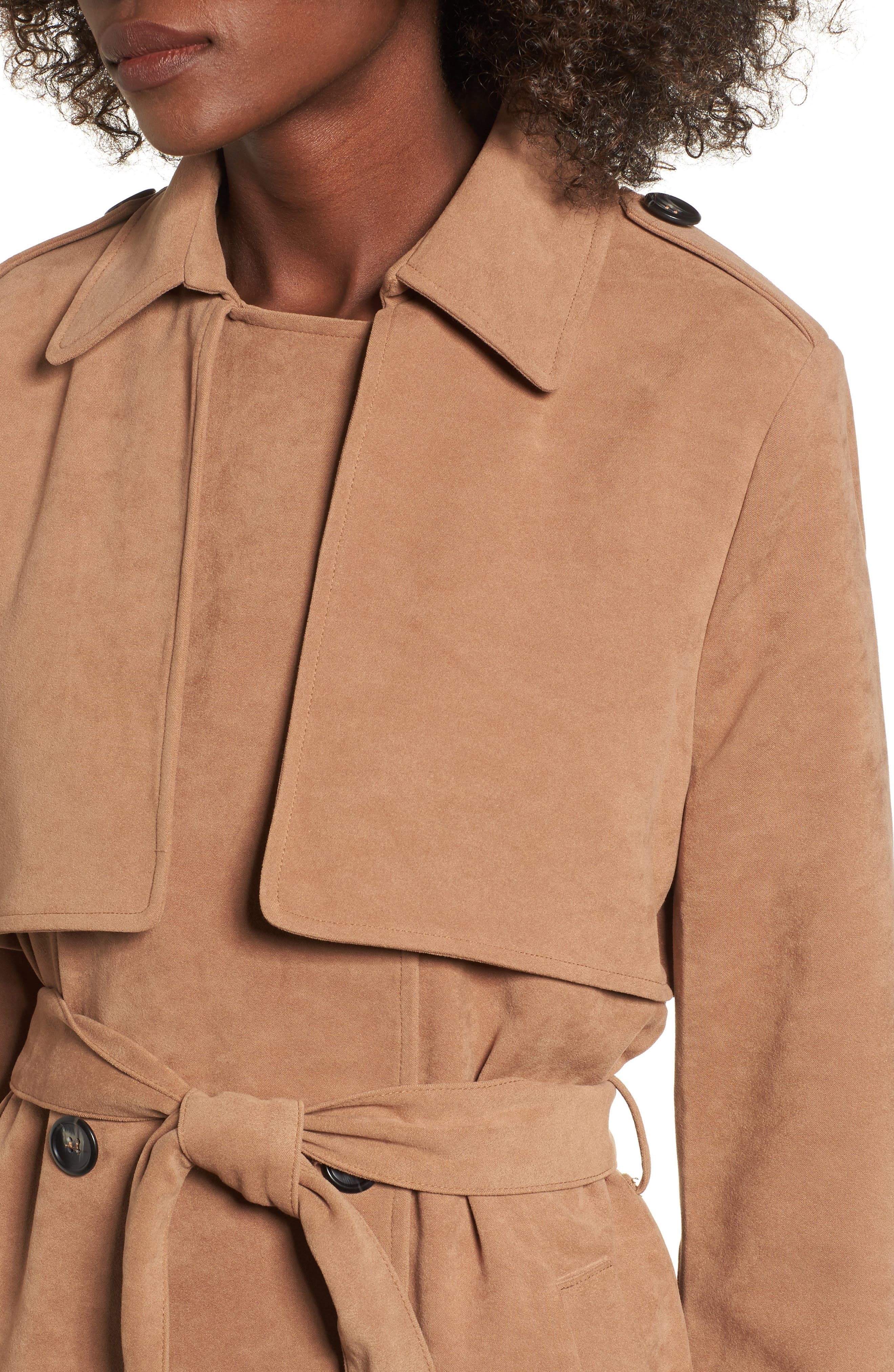 Double-Breasted Trench Coat,                             Alternate thumbnail 4, color,                             Taupe