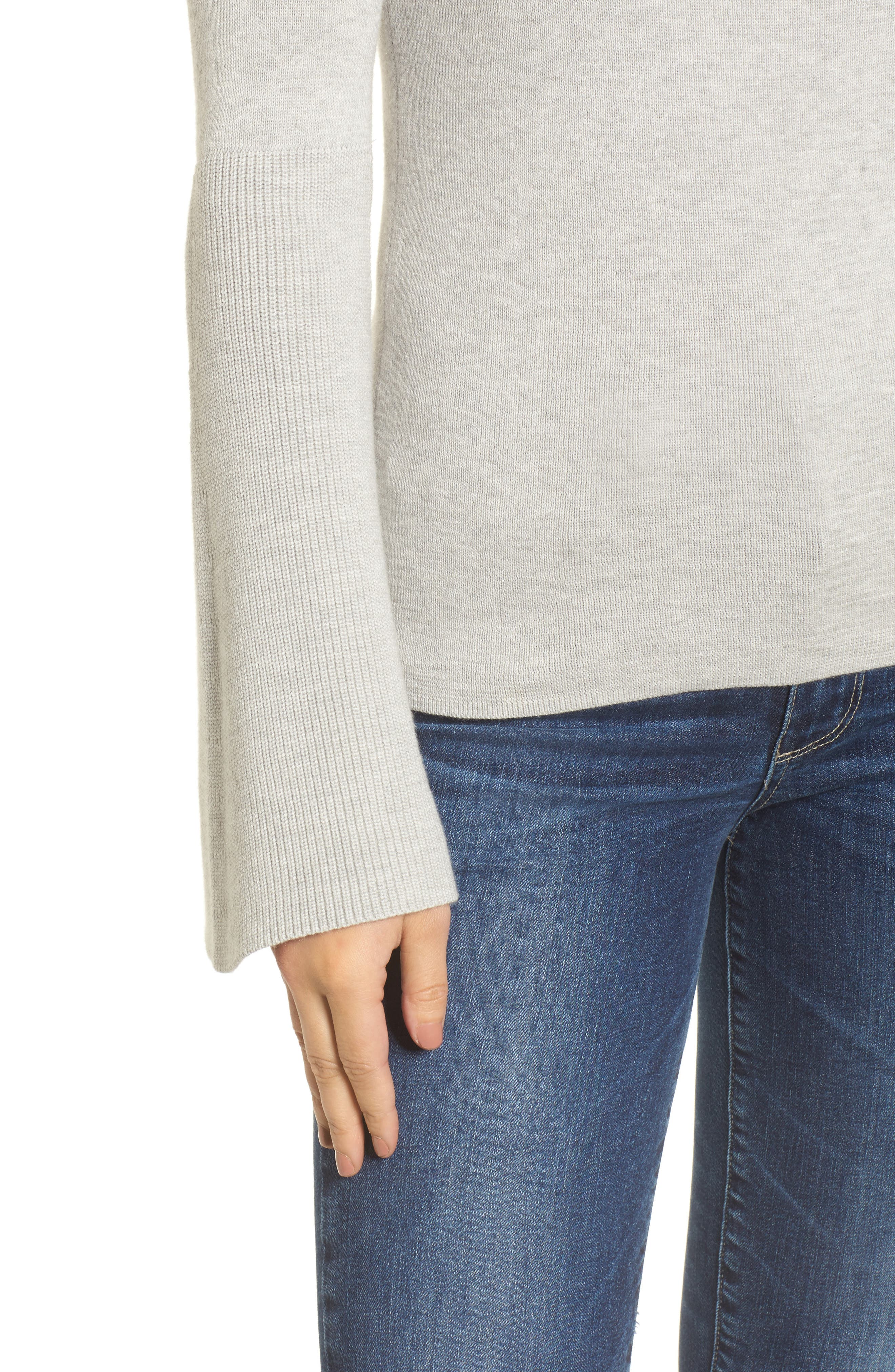 Bell Sleeve Rib Sweater,                             Alternate thumbnail 4, color,                             Grey Light Heather