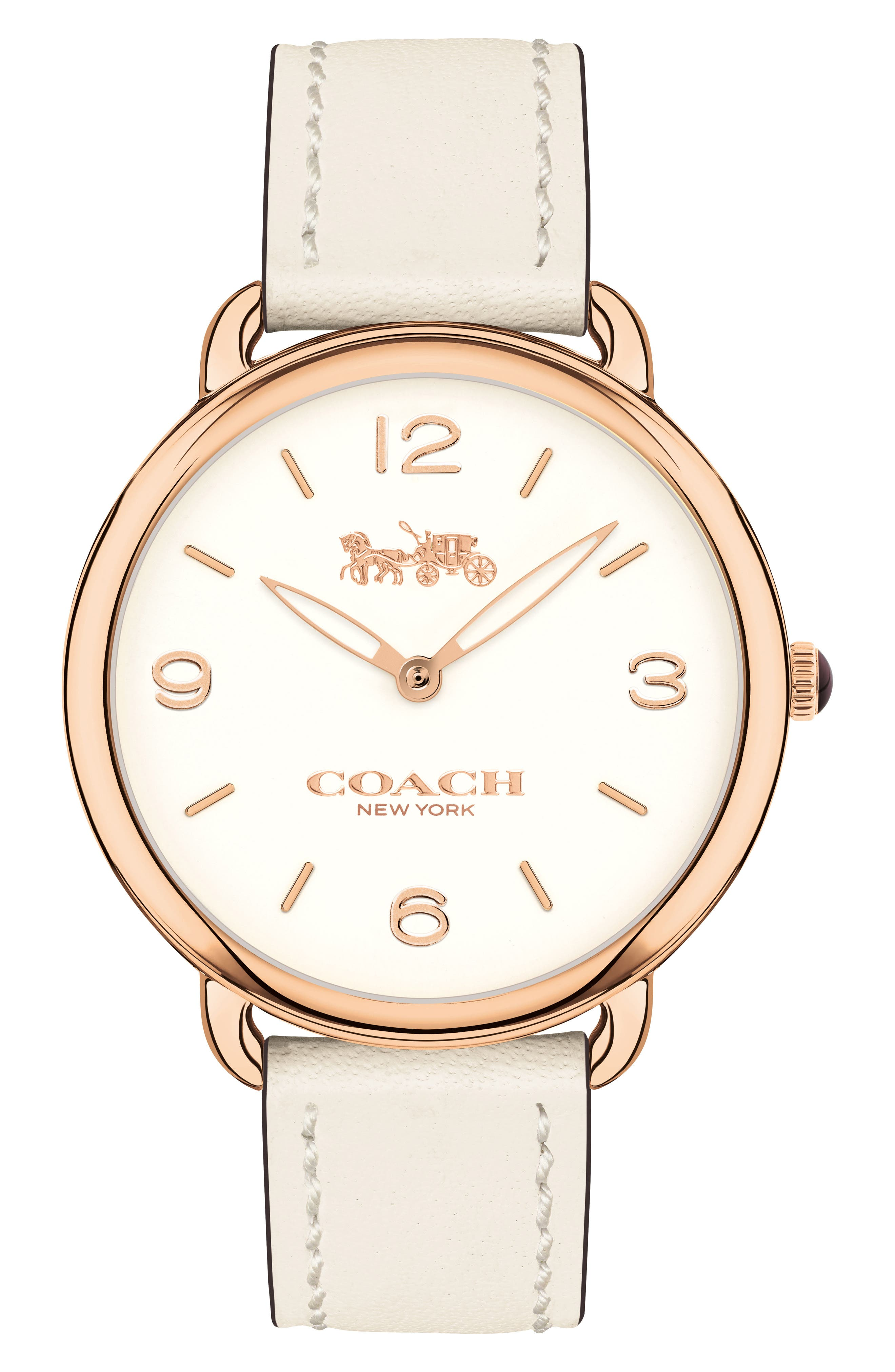 Delancey Slim Leather Strap Watch, 36mm,                         Main,                         color, White/ Rose Gold