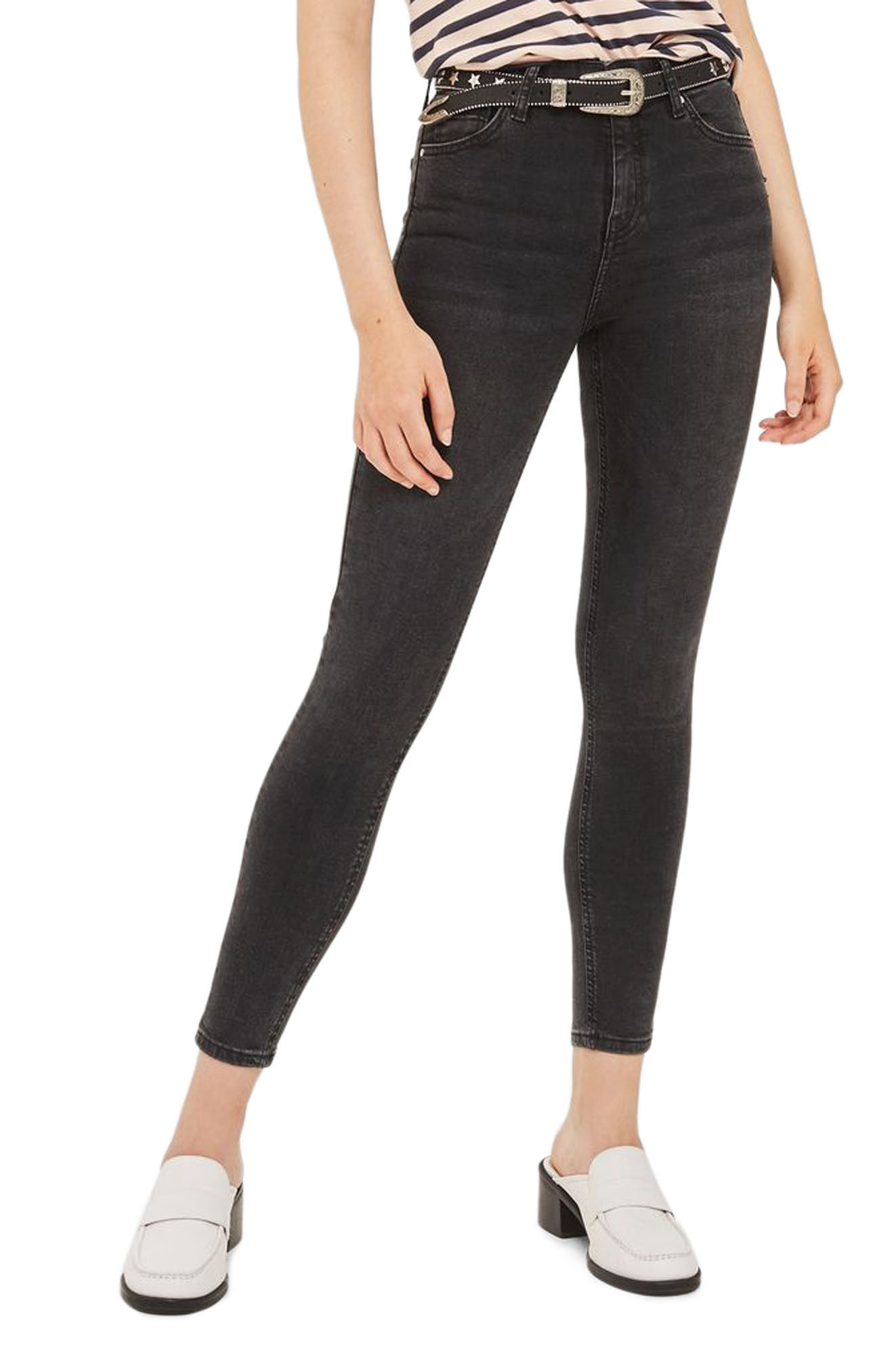 Jamie High Waist Ankle Skinny Jeans,                             Main thumbnail 1, color,                             Washed Black