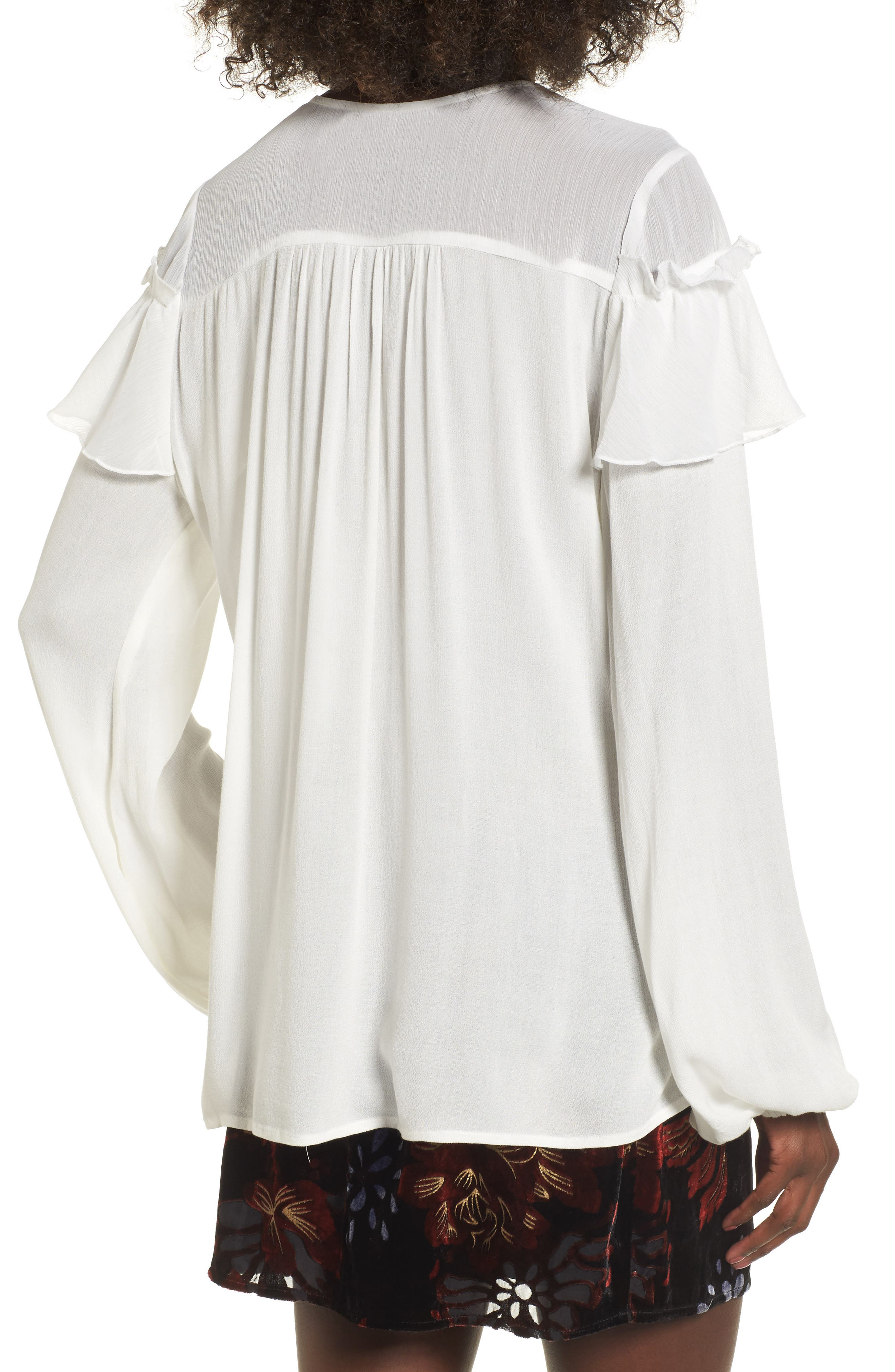 Crepe Ruffle Blouse,                             Alternate thumbnail 2, color,                             Ivory