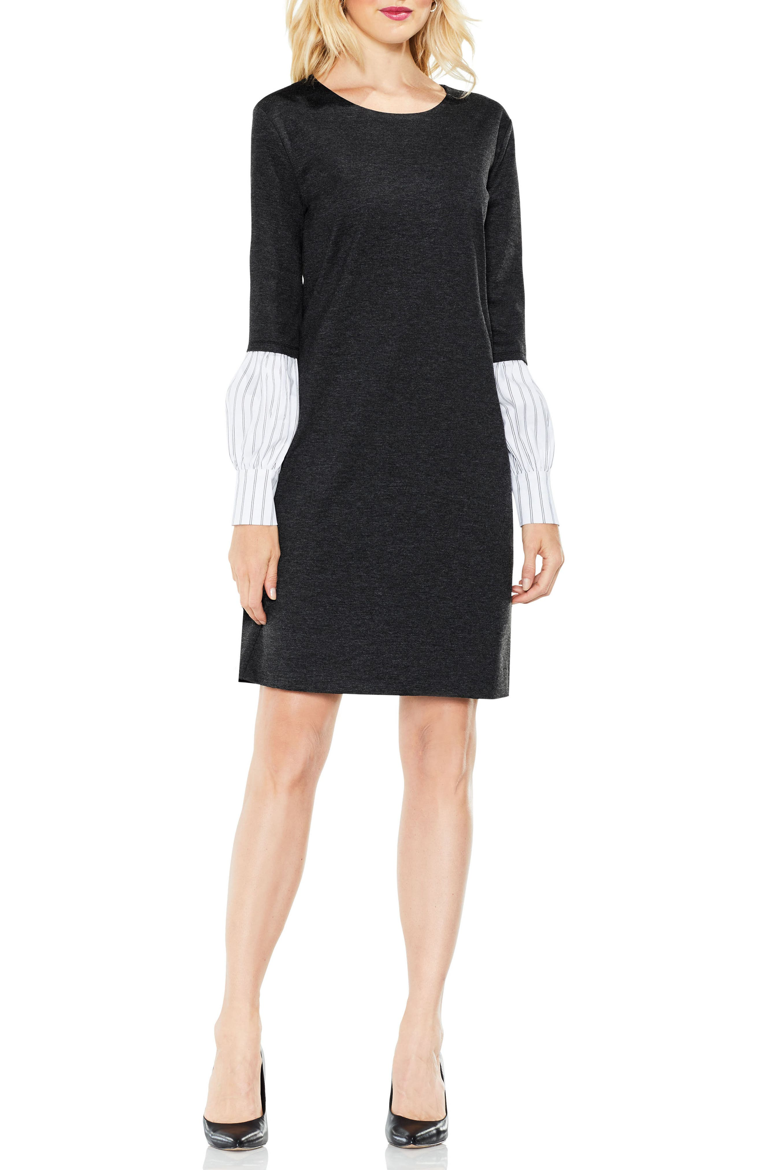 Alternate Image 2  - Vince Camuto Bubble Sleeve Mix Media Dress