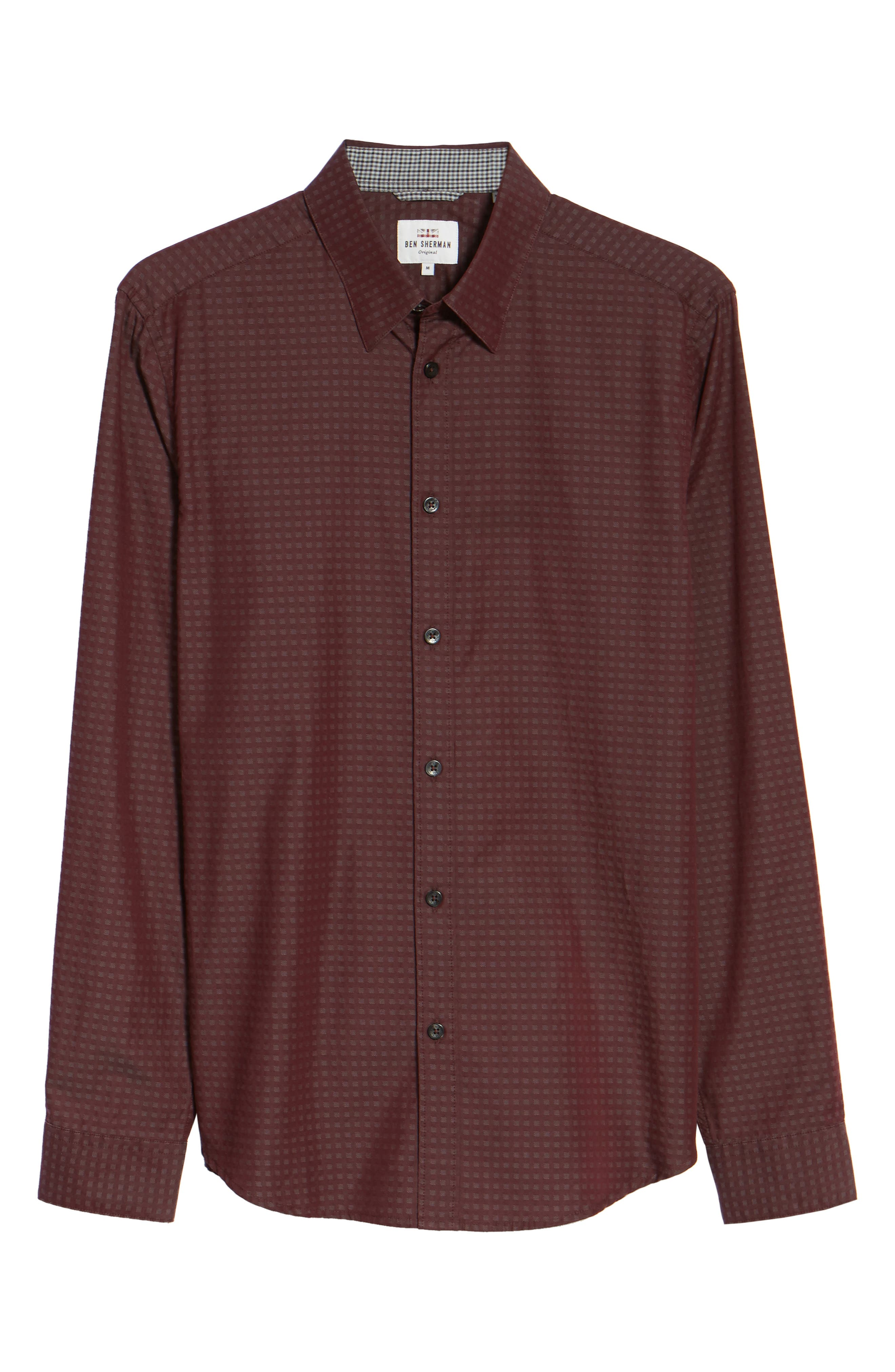 Dobby Checkerboard Woven Shirt,                             Alternate thumbnail 6, color,                             Grape