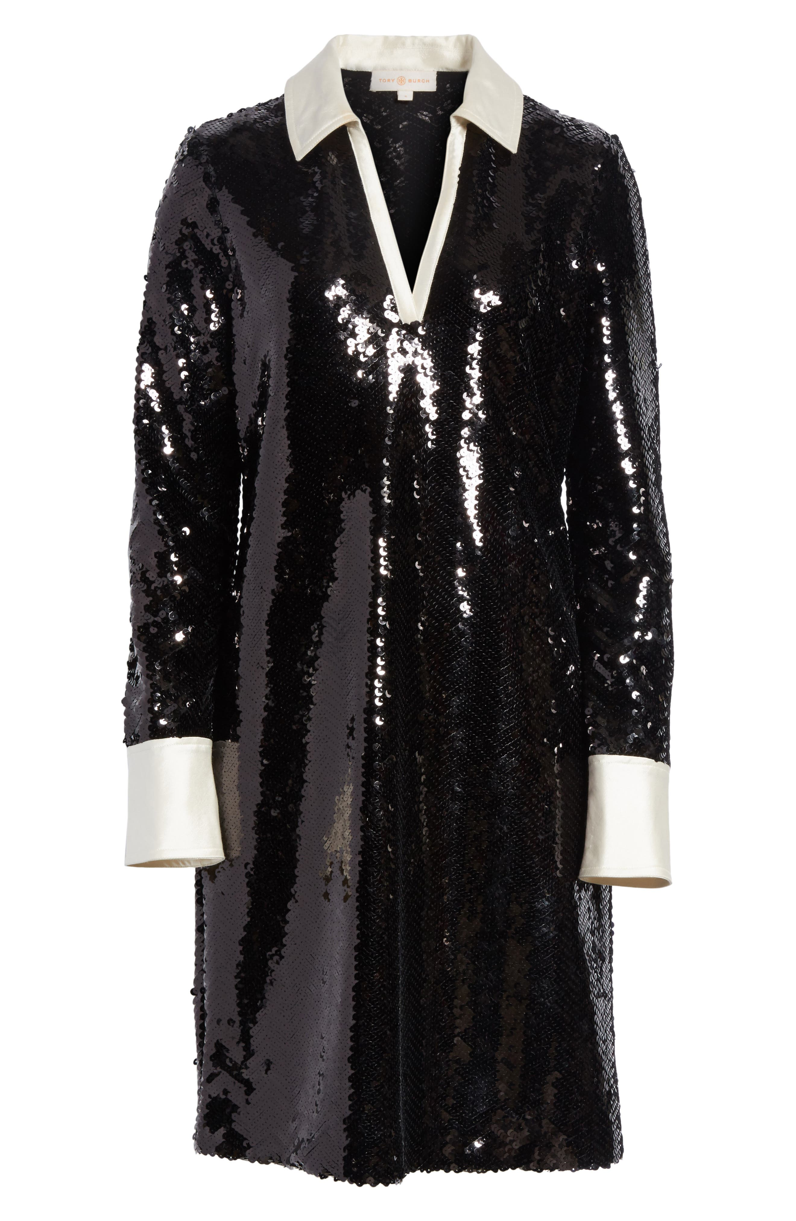 Monica Sequin Dress,                             Alternate thumbnail 6, color,                             Black