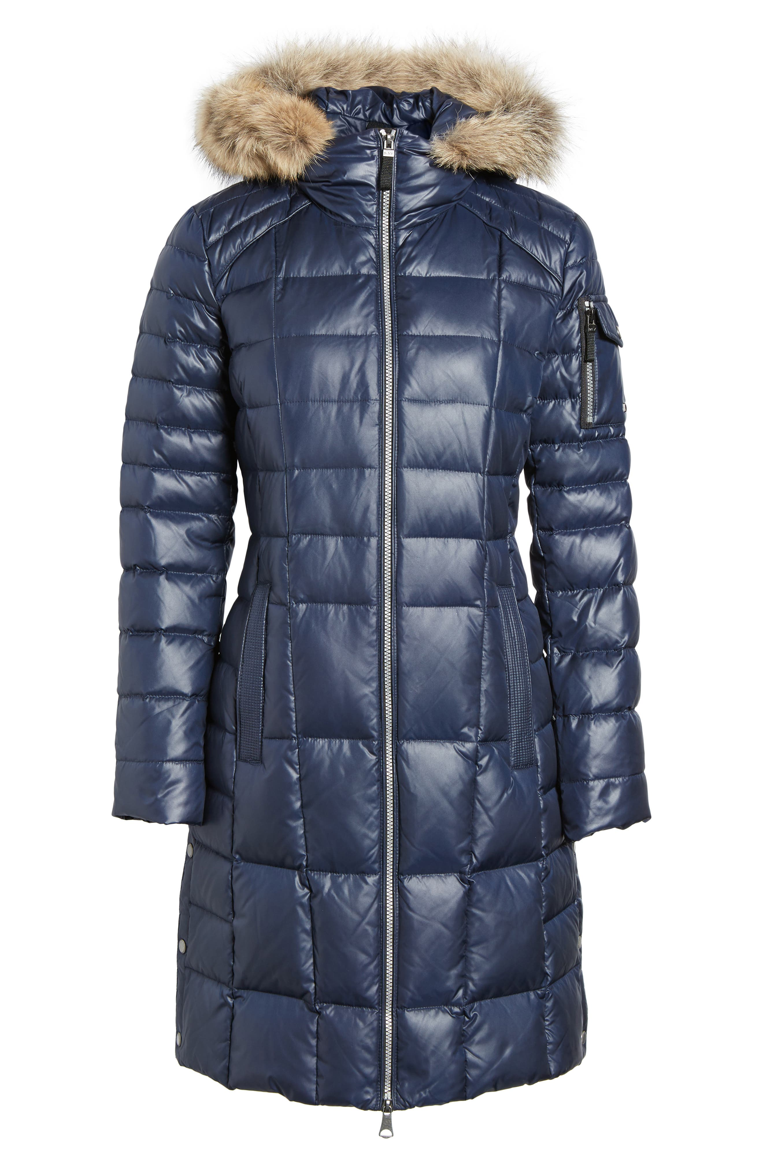 Quilted Coat with Genuine Coyote Fur,                             Alternate thumbnail 5, color,                             Navy