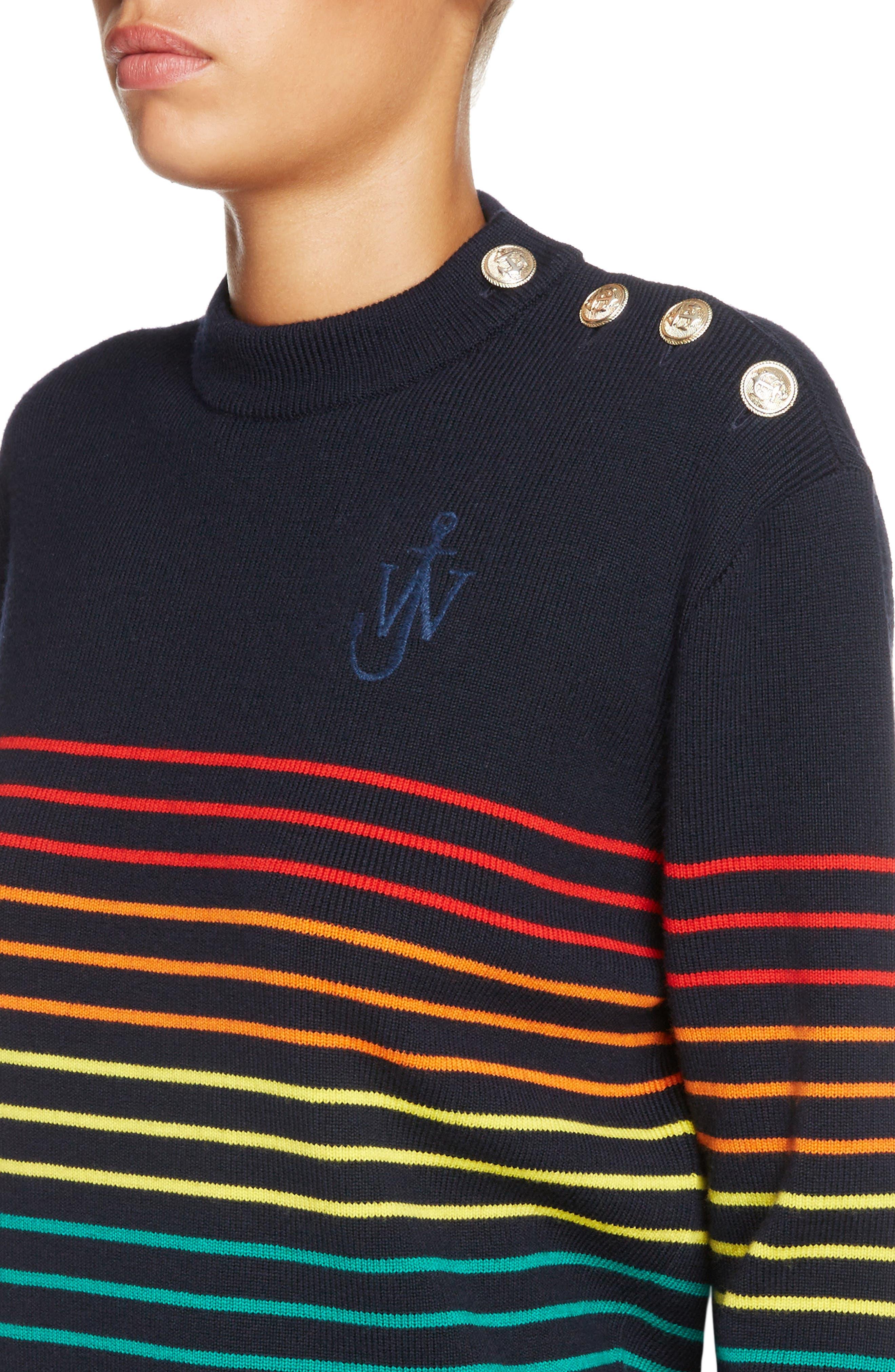 Marinière Stripe Wool Sweater,                             Alternate thumbnail 6, color,                             Navy Multi