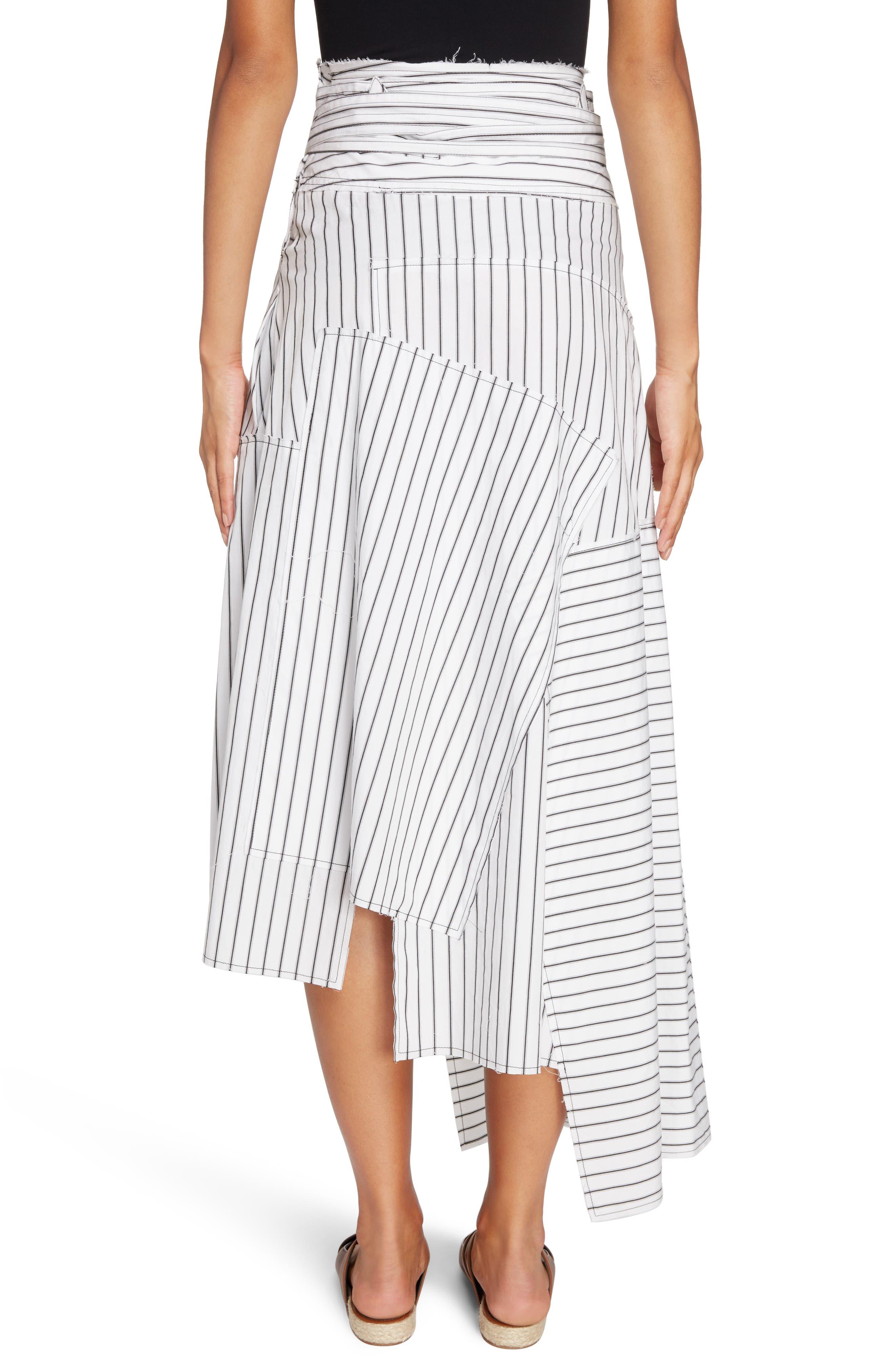Patchwork Pinstripe Wrap Skirt,                             Alternate thumbnail 3, color,                             Off White