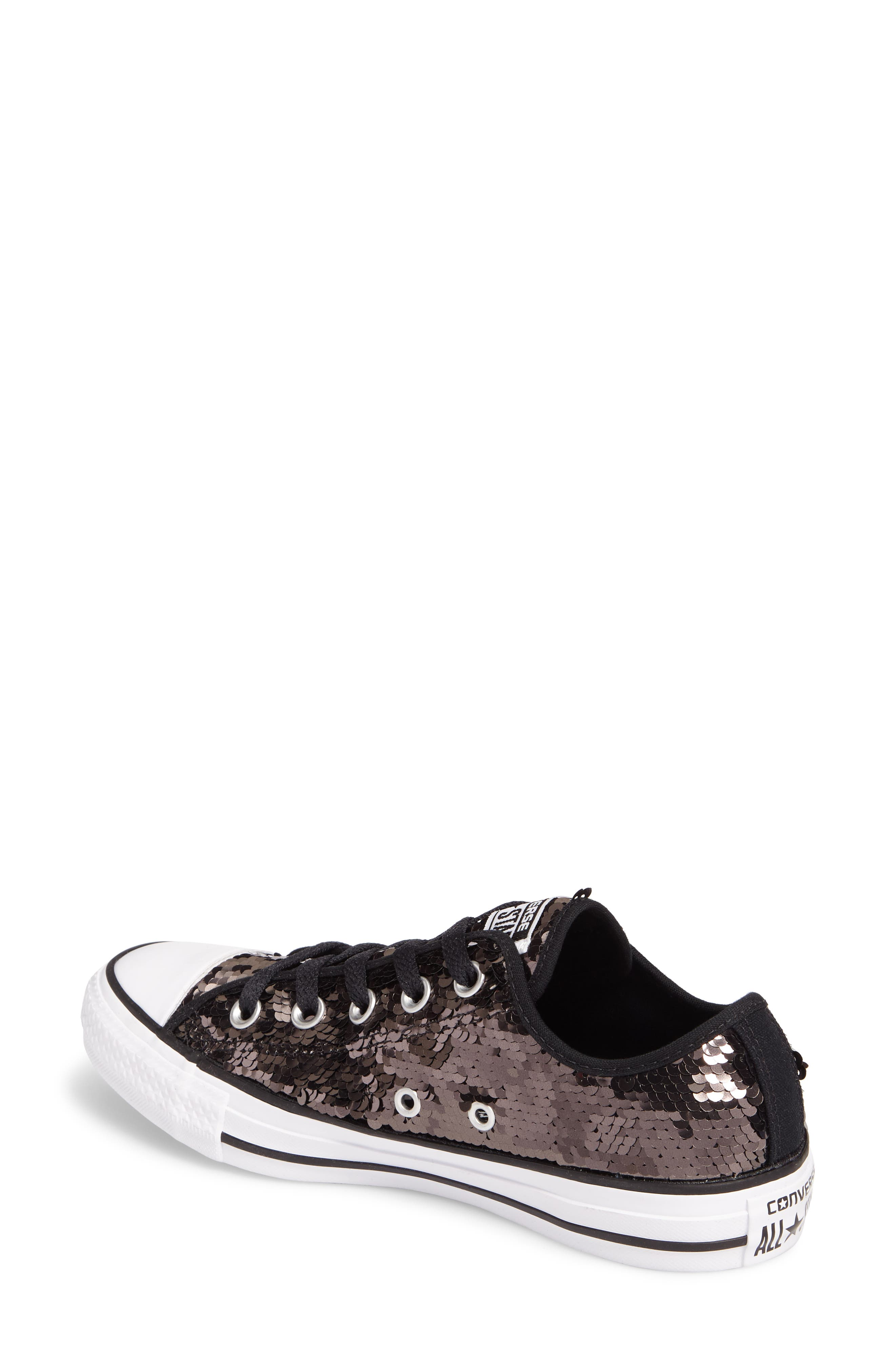Chuck Taylor<sup>®</sup> All Star<sup>®</sup> Sequin Low Top Sneaker,                             Alternate thumbnail 2, color,                             Gunmetal Sequins