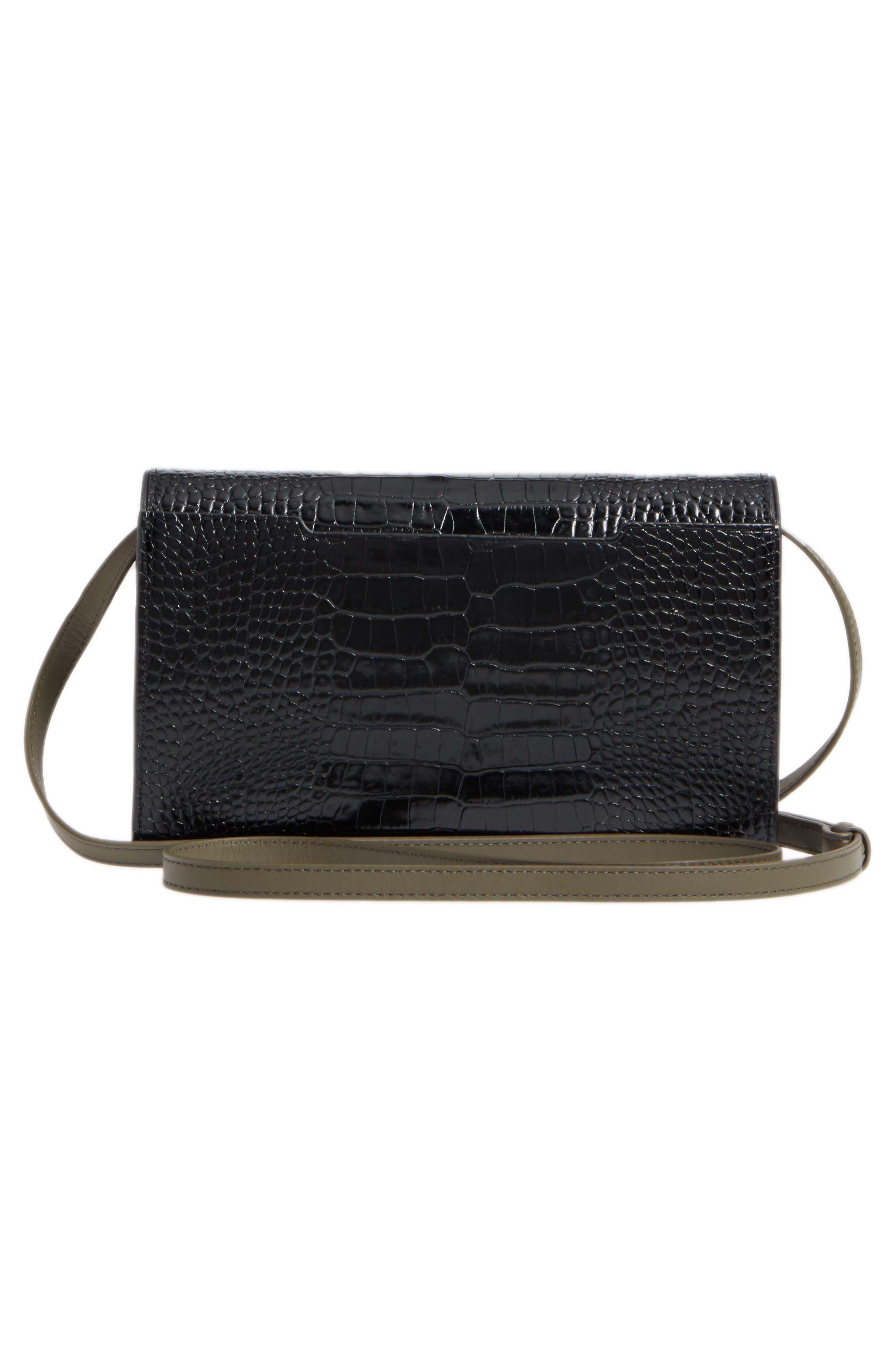 Croc-Embossed Leather Crossbody Wallet,                             Alternate thumbnail 3, color,                             Black Croco