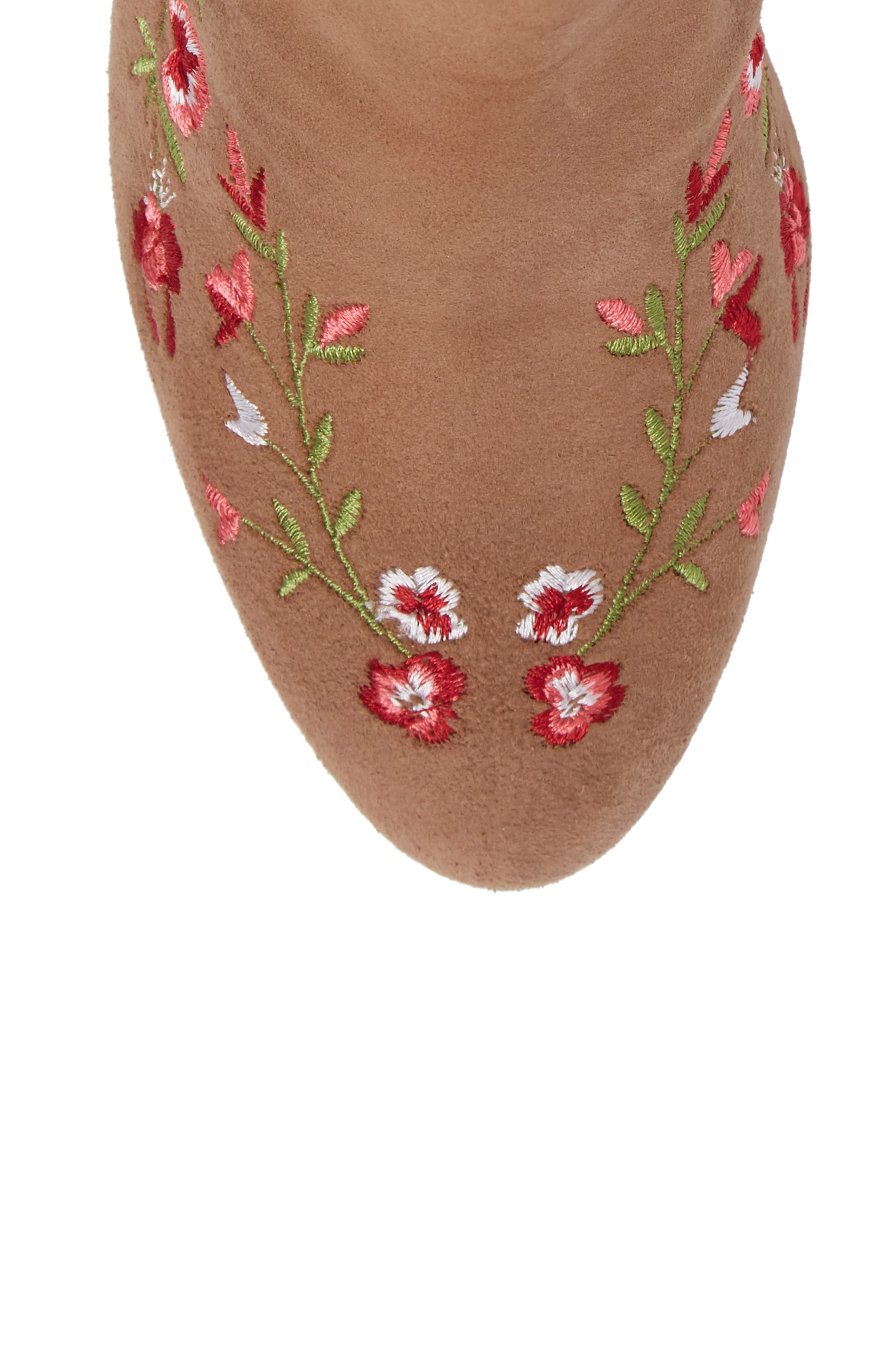 Veronaa Embroidered Bootie,                             Alternate thumbnail 5, color,                             Tan Suede