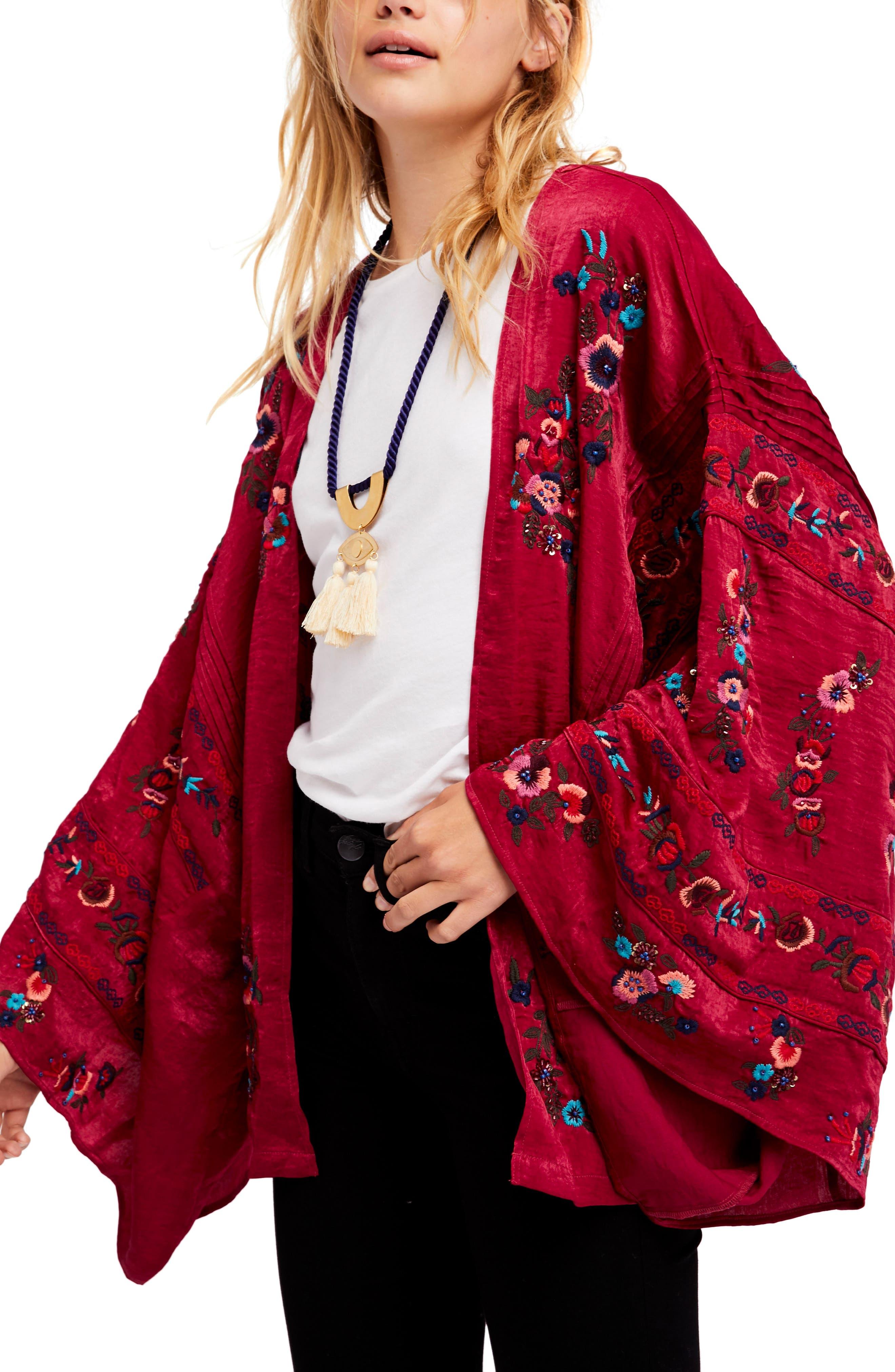 Ariel Kimono,                             Main thumbnail 1, color,                             Raspberry