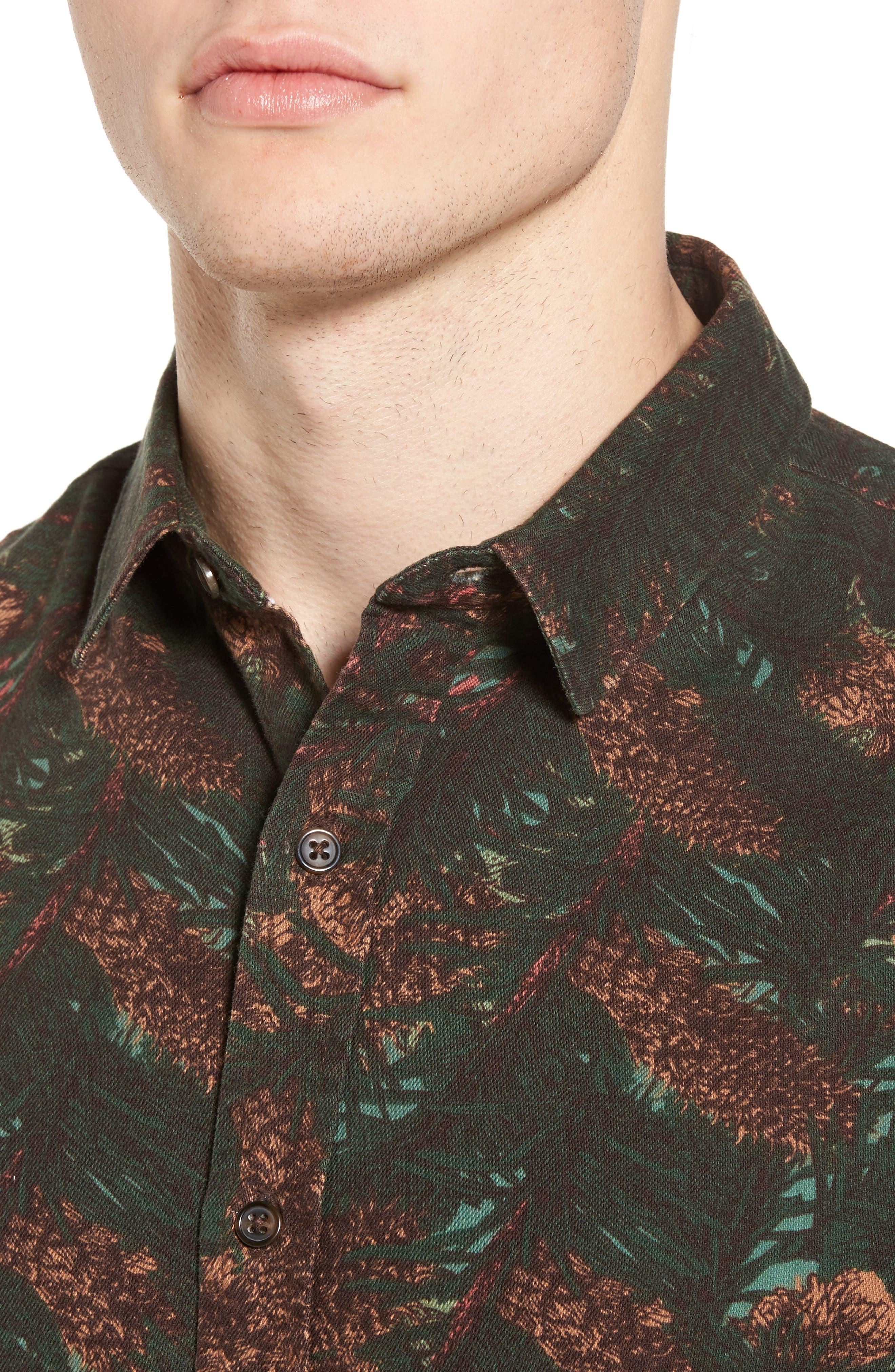 Print Flannel Shirt,                             Alternate thumbnail 4, color,                             Green Pinecone Print