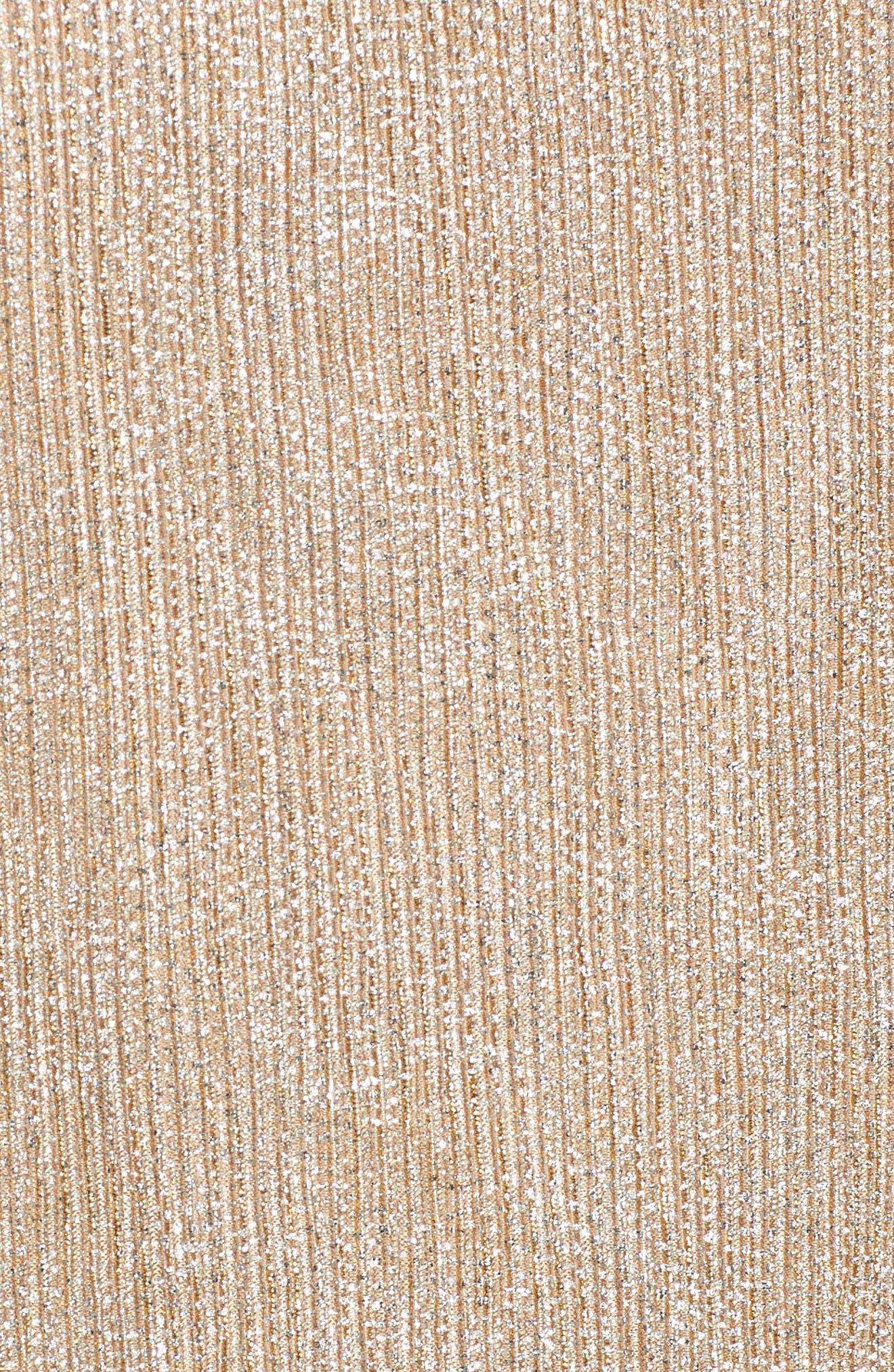 Metallic Knit Tee,                             Alternate thumbnail 5, color,                             Champagne