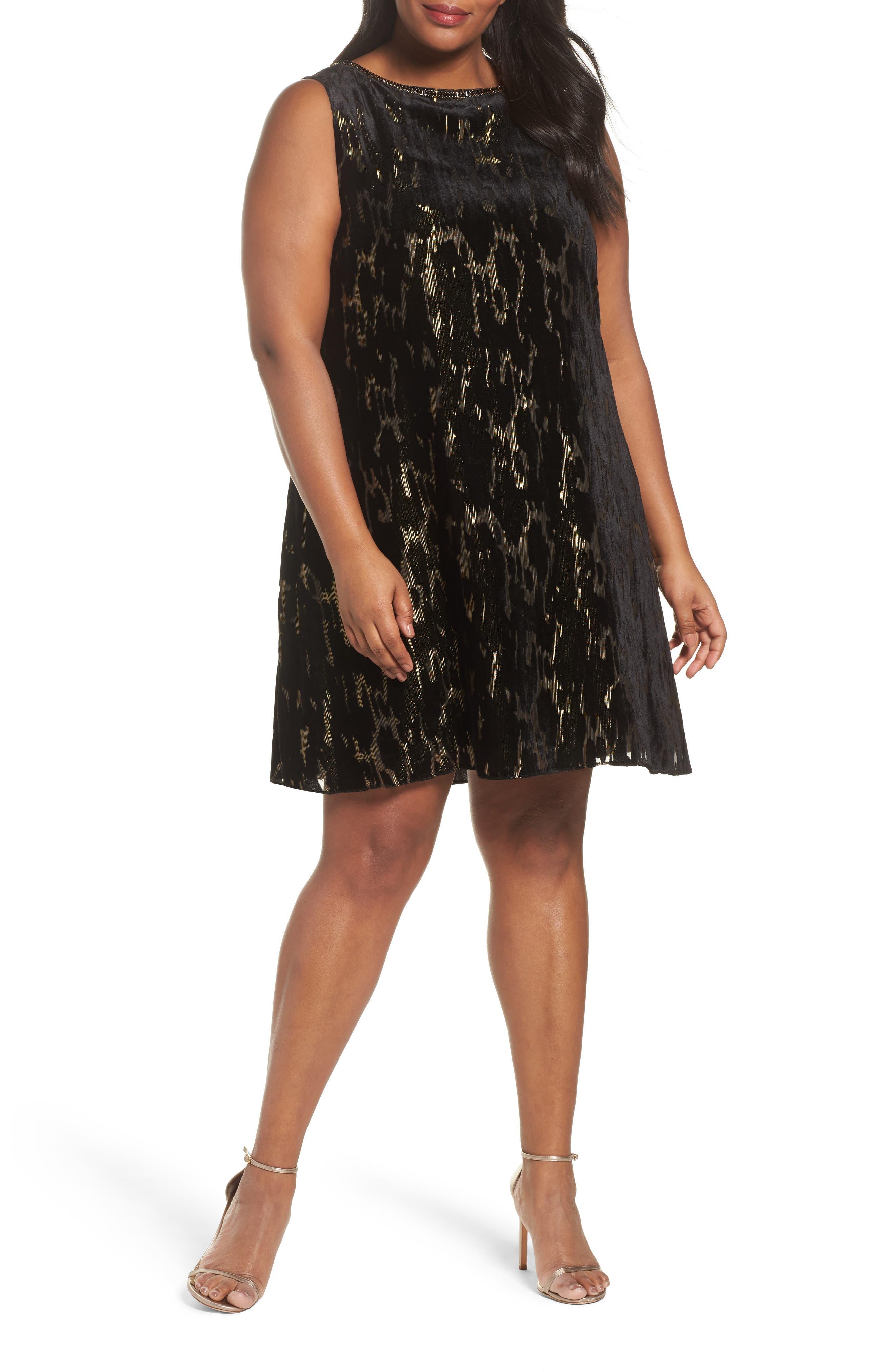 Burnout Velvet Dress,                         Main,                         color, Black/ Gold