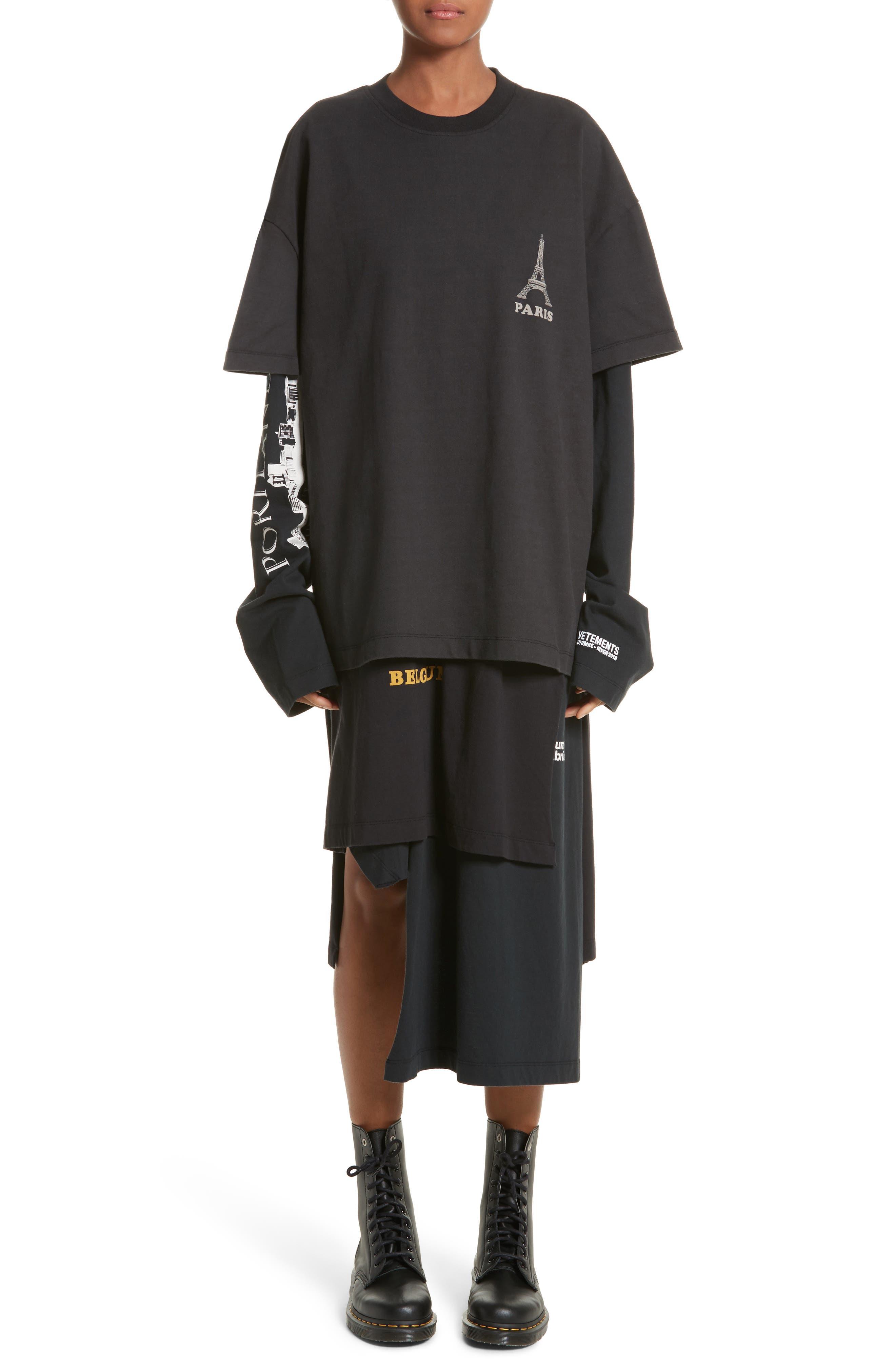 Layered Tee Dress,                         Main,                         color, Black