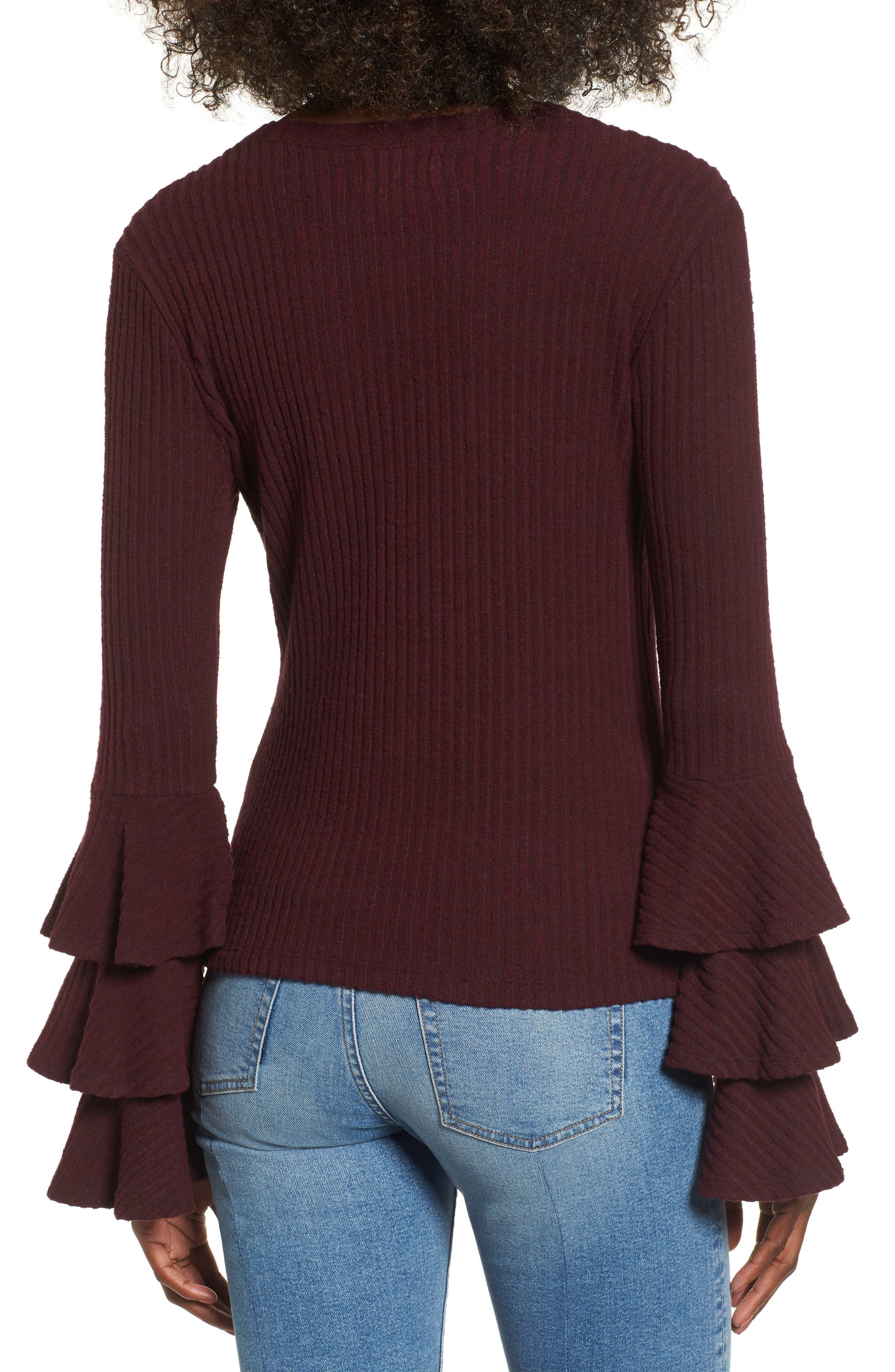 Marie Ruffle Sleeve Top,                             Alternate thumbnail 2, color,                             Burgundy