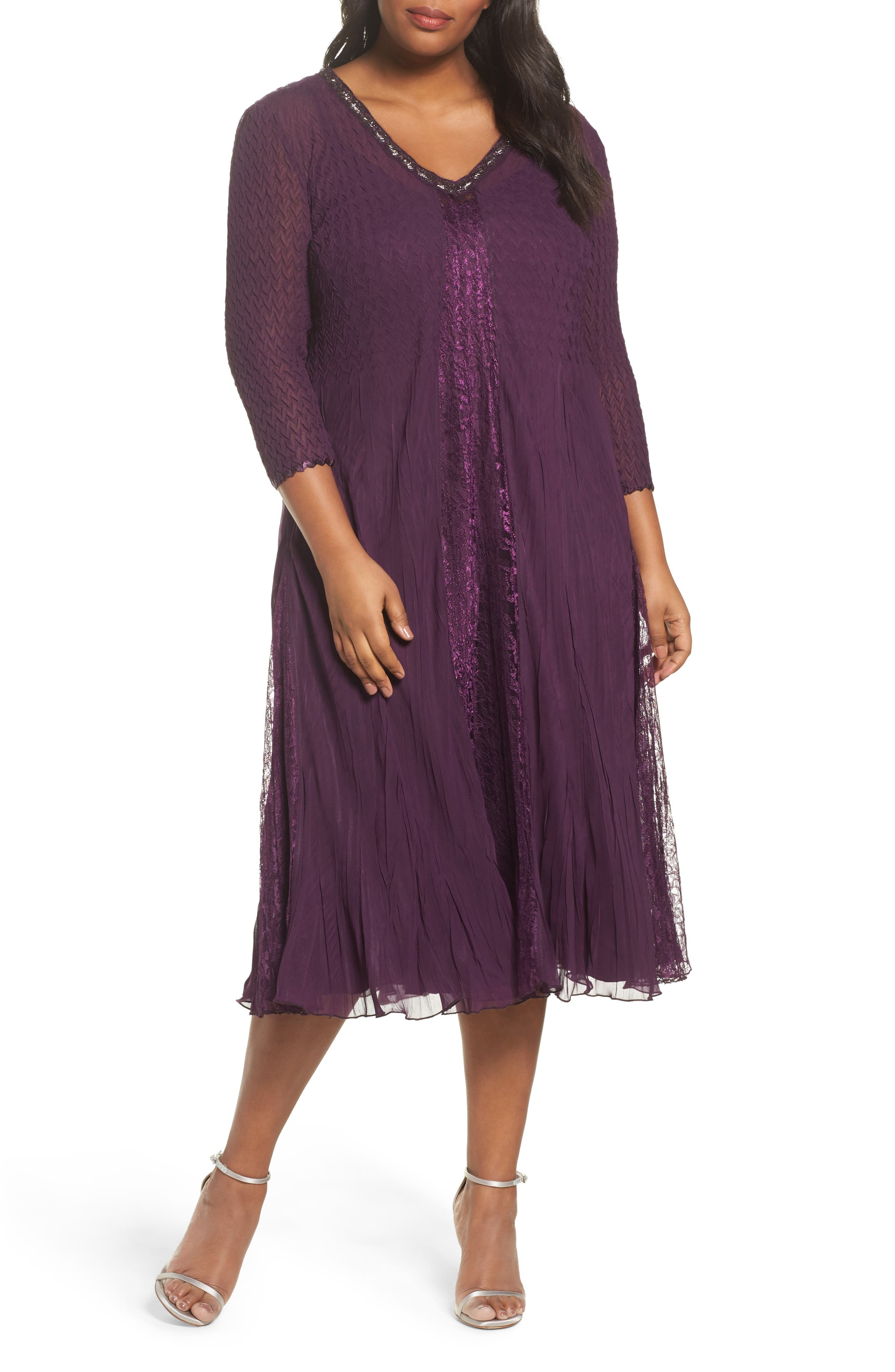 Center Front Lace Dress,                         Main,                         color, Aubergine