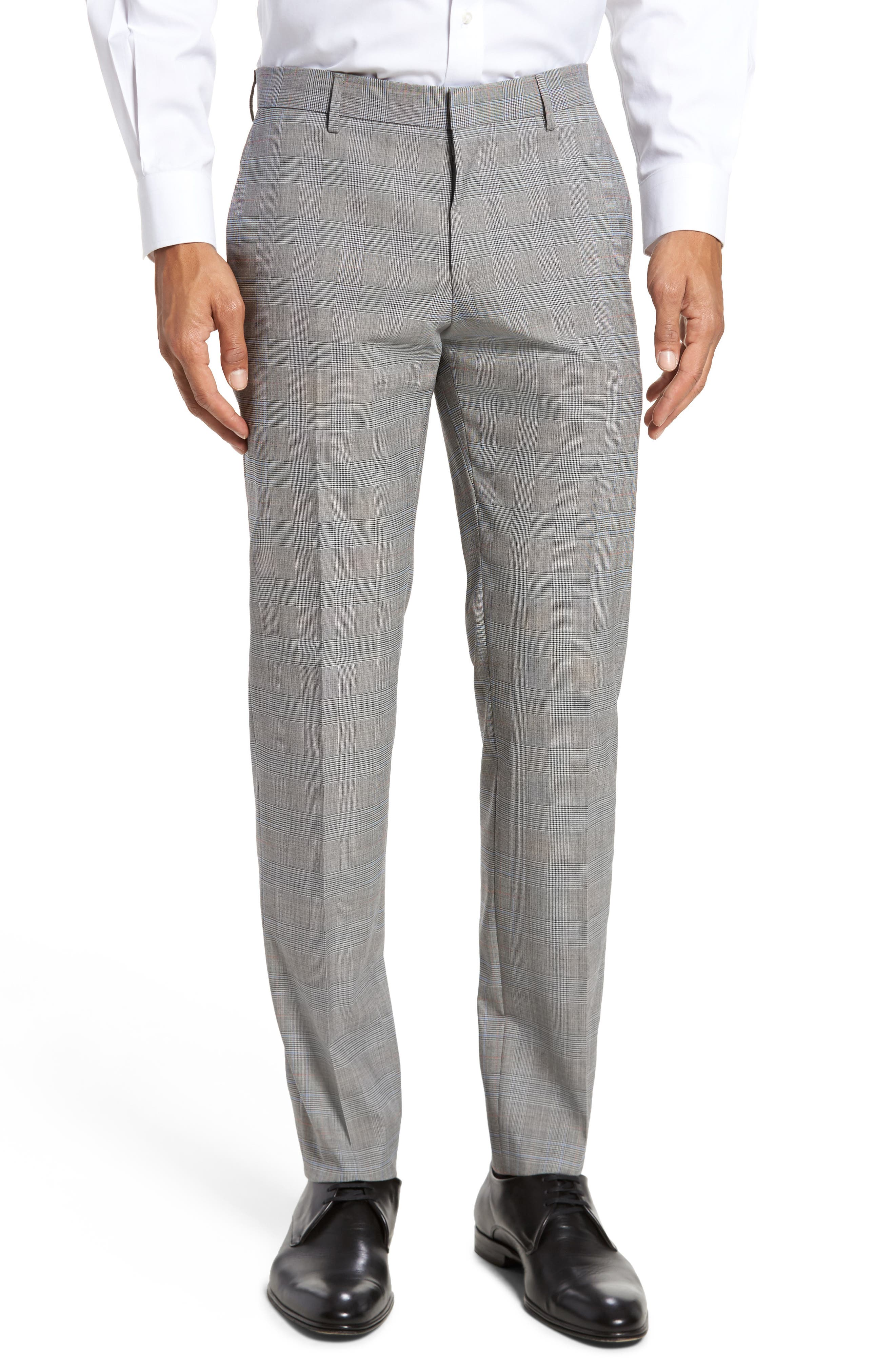 Benso Flat Front Plaid Wool Blend Trousers,                             Main thumbnail 1, color,                             Open Grey