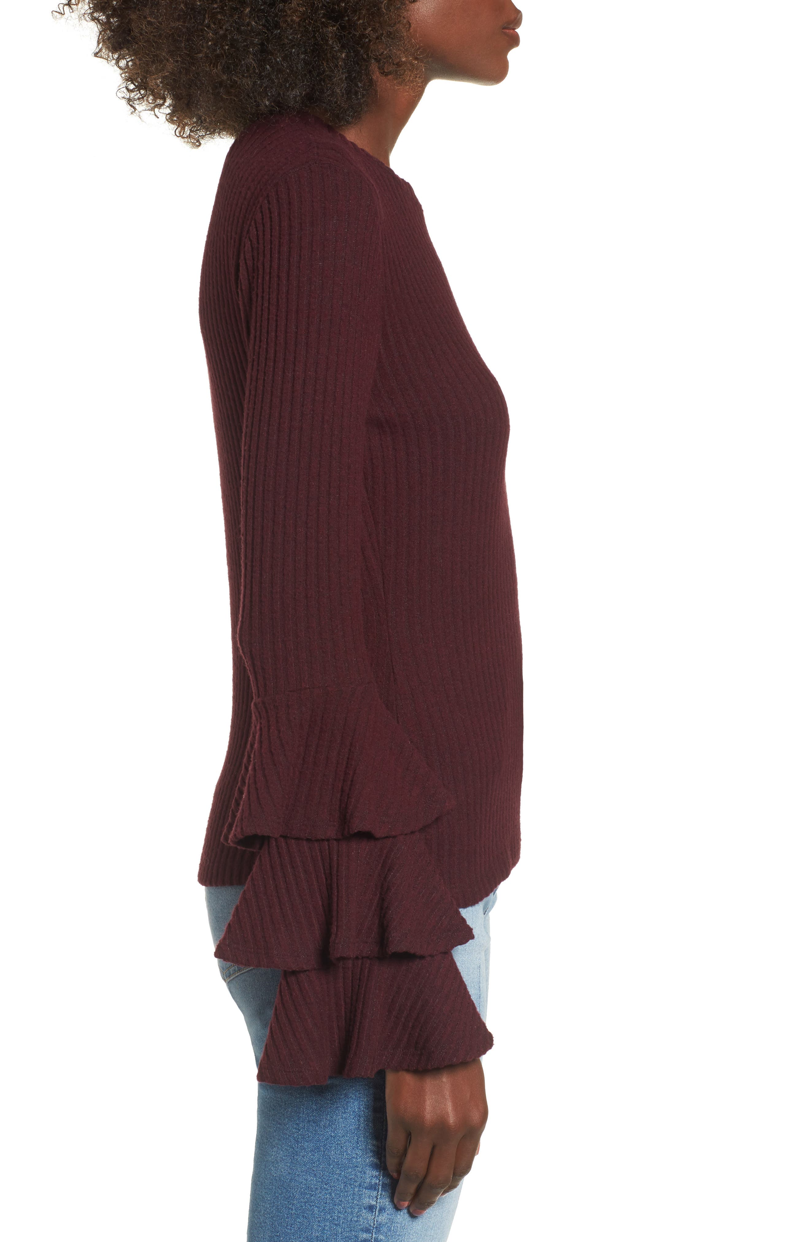 Marie Ruffle Sleeve Top,                             Alternate thumbnail 3, color,                             Burgundy