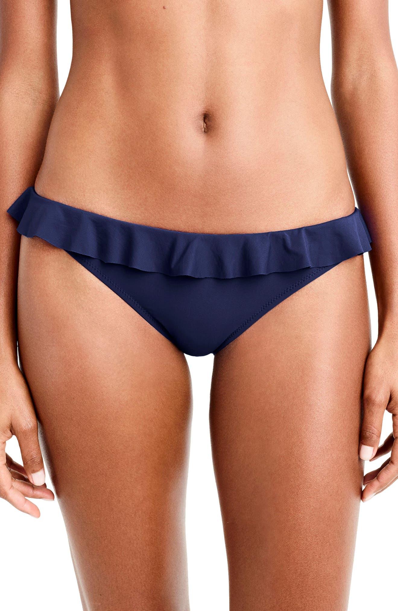 Ruffle Bikini Bottom,                         Main,                         color, Navy