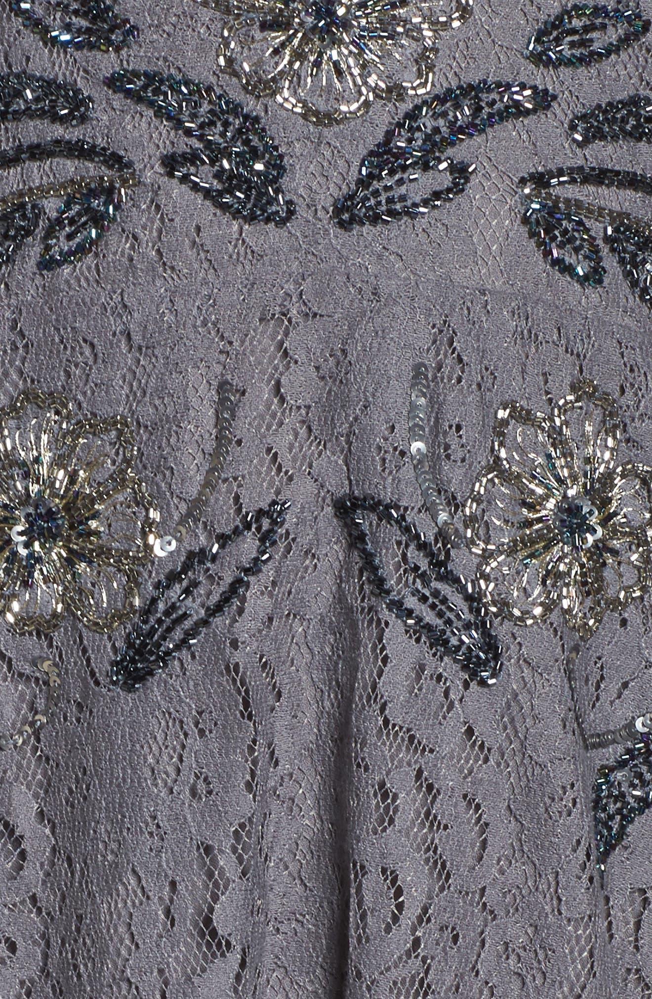Esme Shimmer Beaded Lace Dress,                             Alternate thumbnail 5, color,                             Smokey