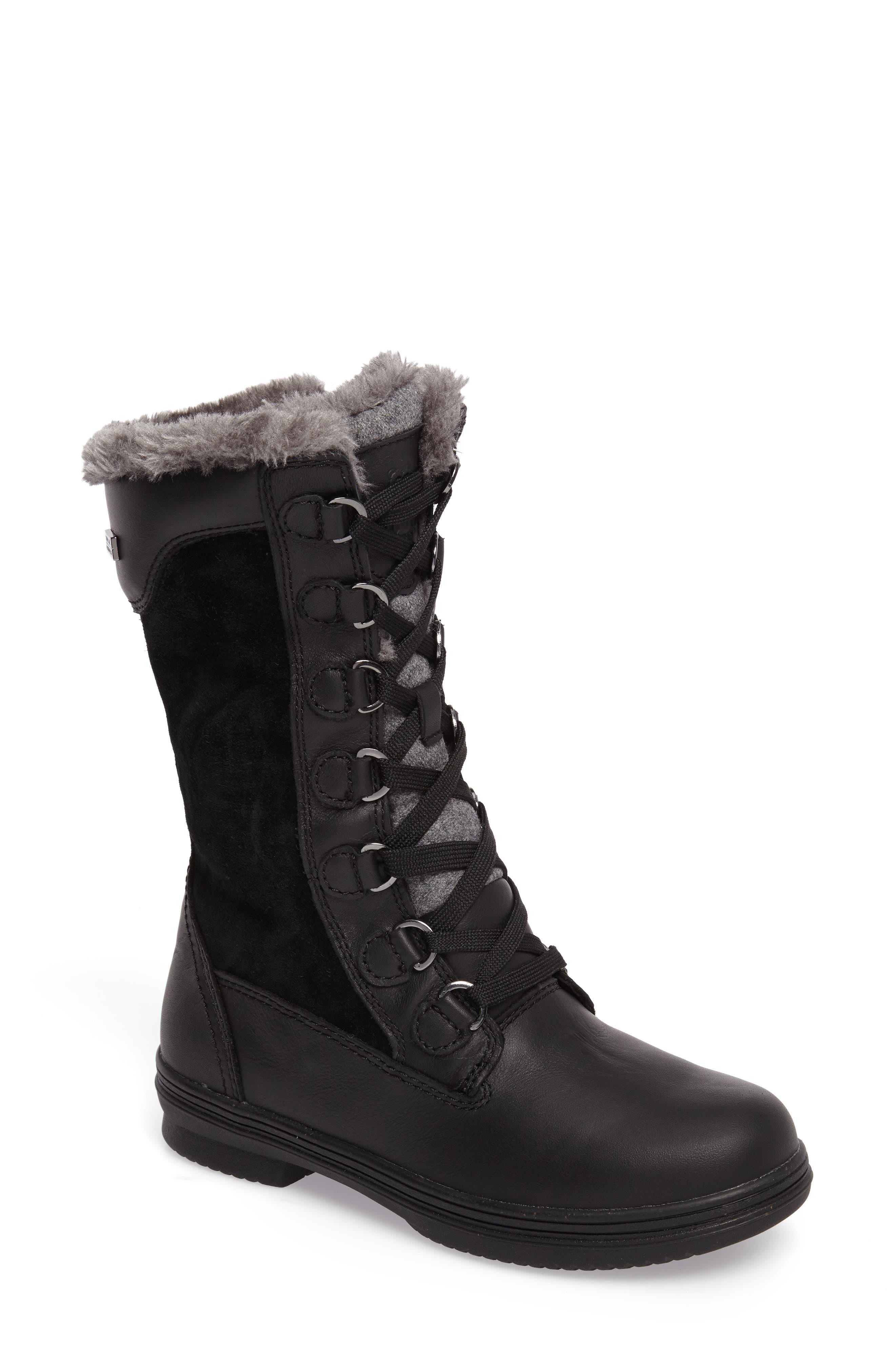 Glata Waterproof Boot,                             Main thumbnail 1, color,                             Black Leather