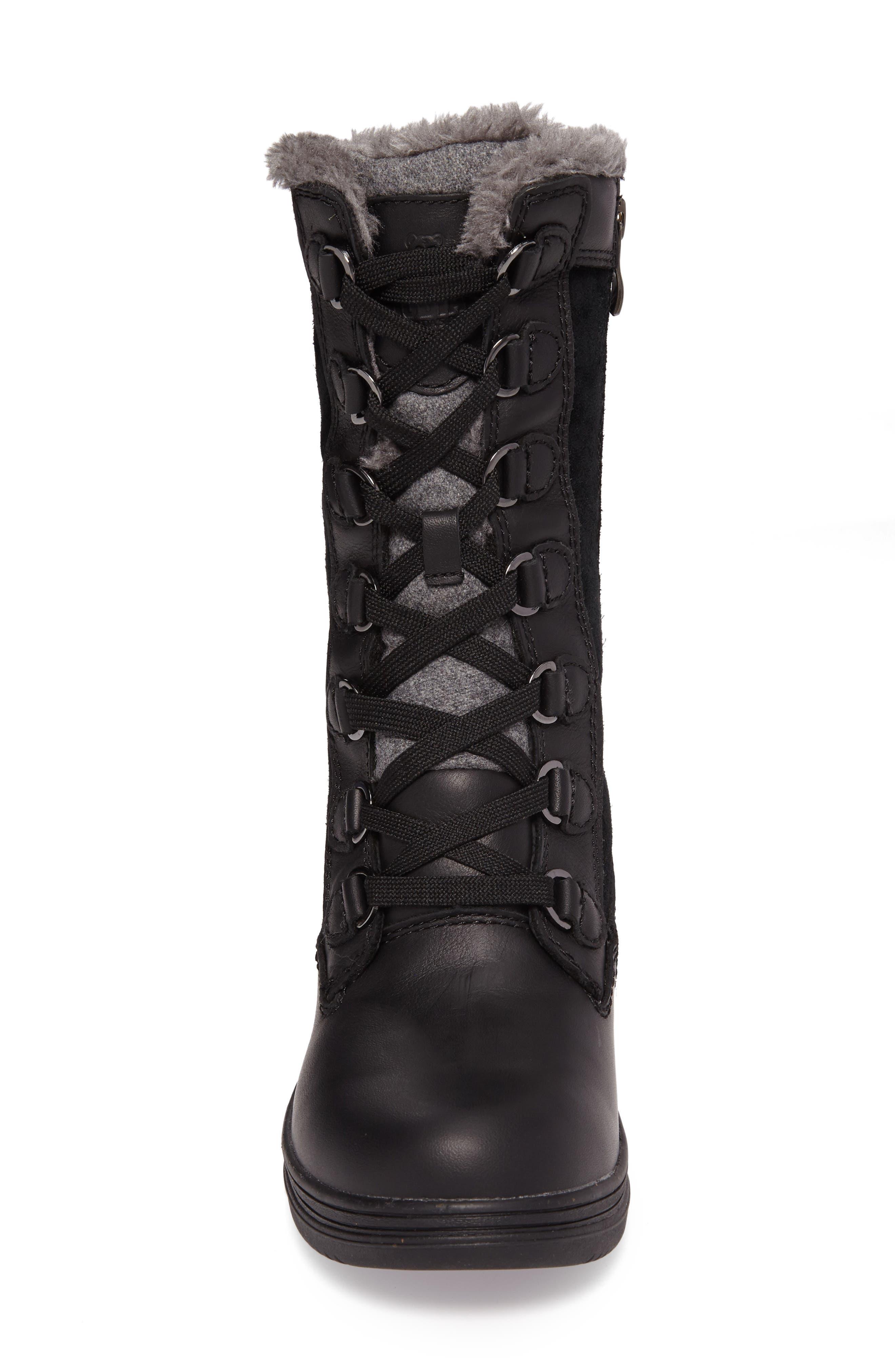 Glata Waterproof Boot,                             Alternate thumbnail 4, color,                             Black Leather