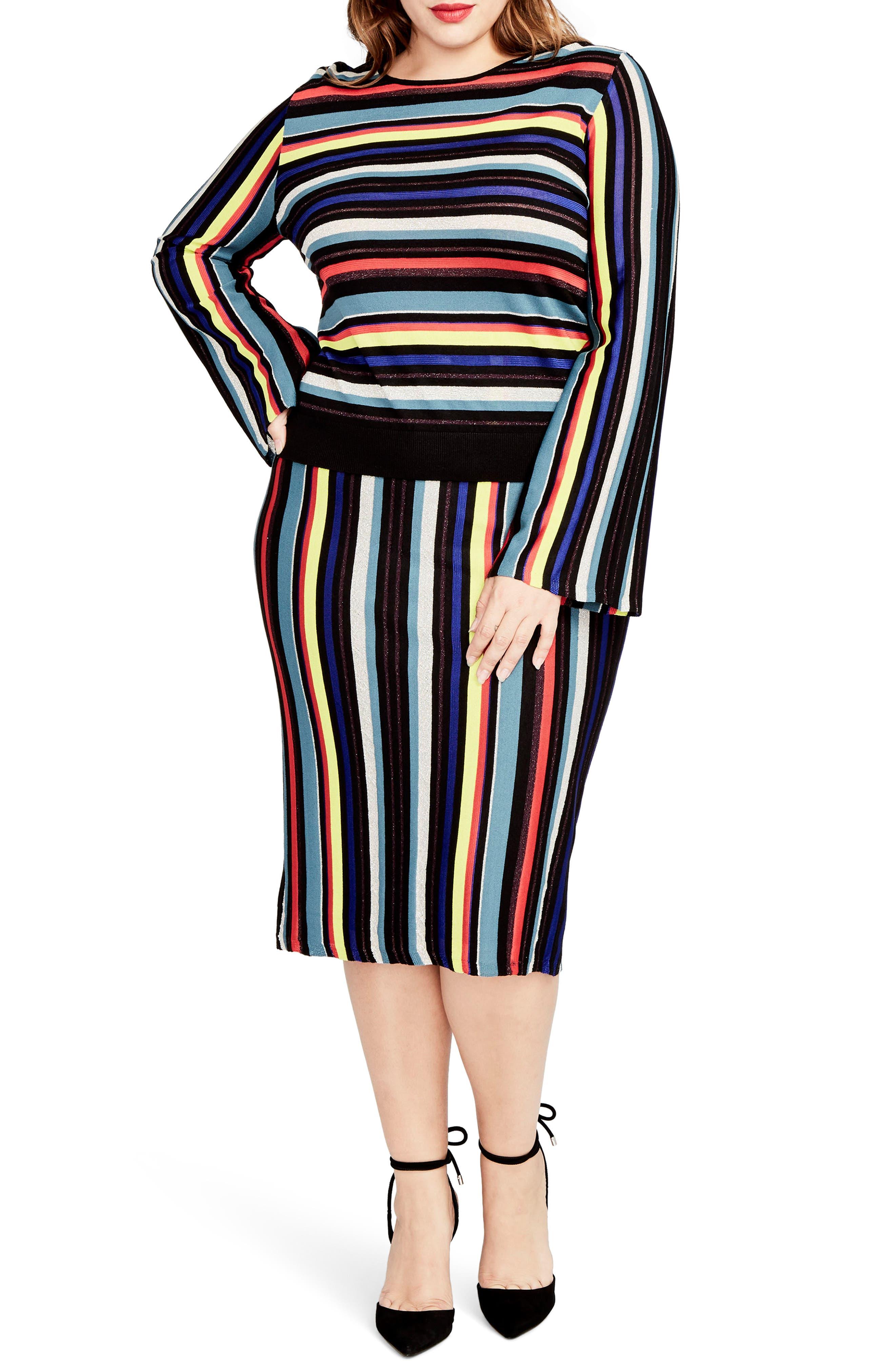 Main Image - RACHEL Rachel Roy Multistripe Knit Skirt (Plus Size)