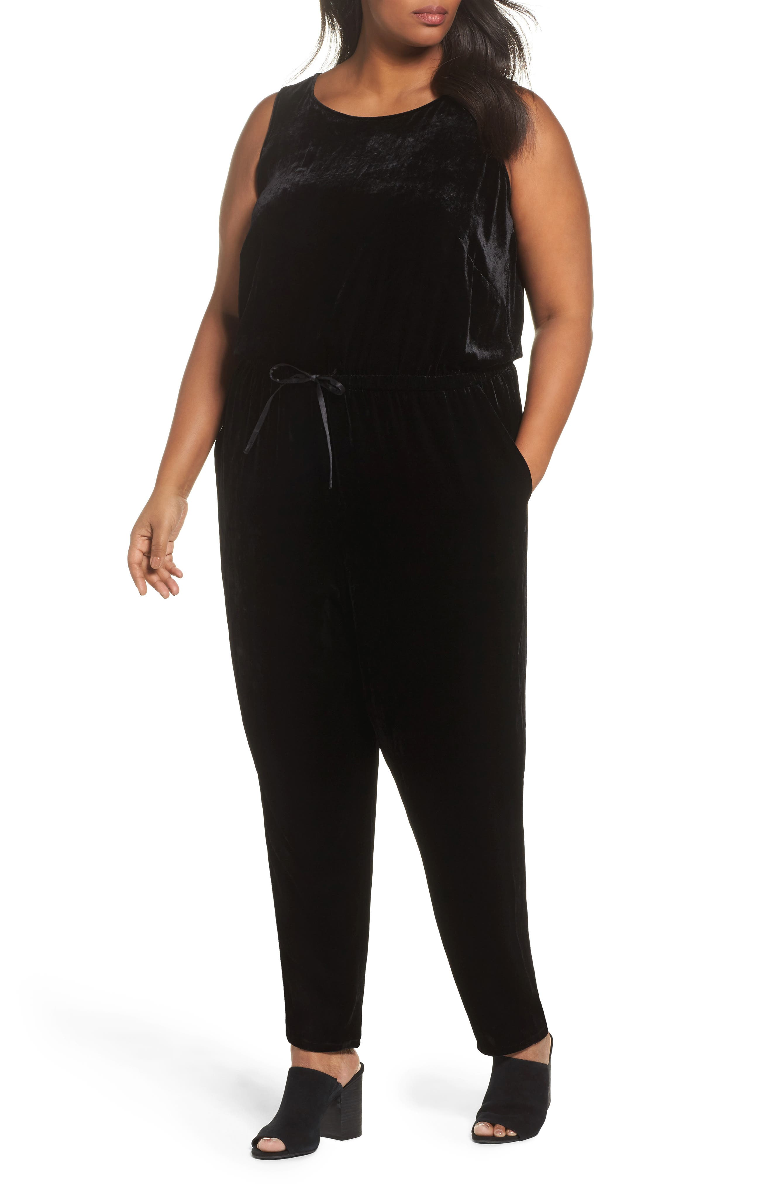 Eileen Fisher Slouchy Velvet Jumpsuit (Plus Size)