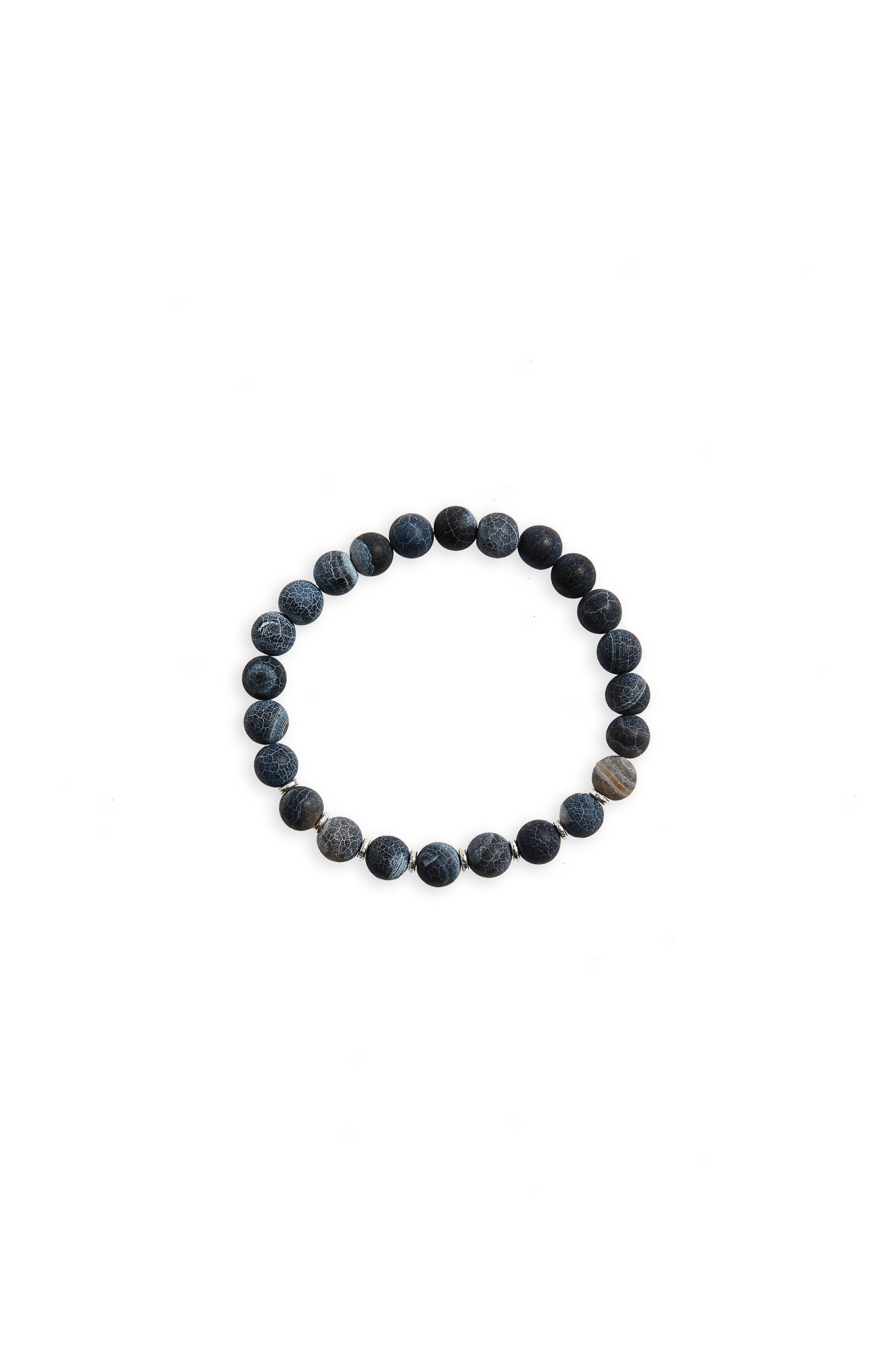 Agate Bead Bracelet,                         Main,                         color, Black