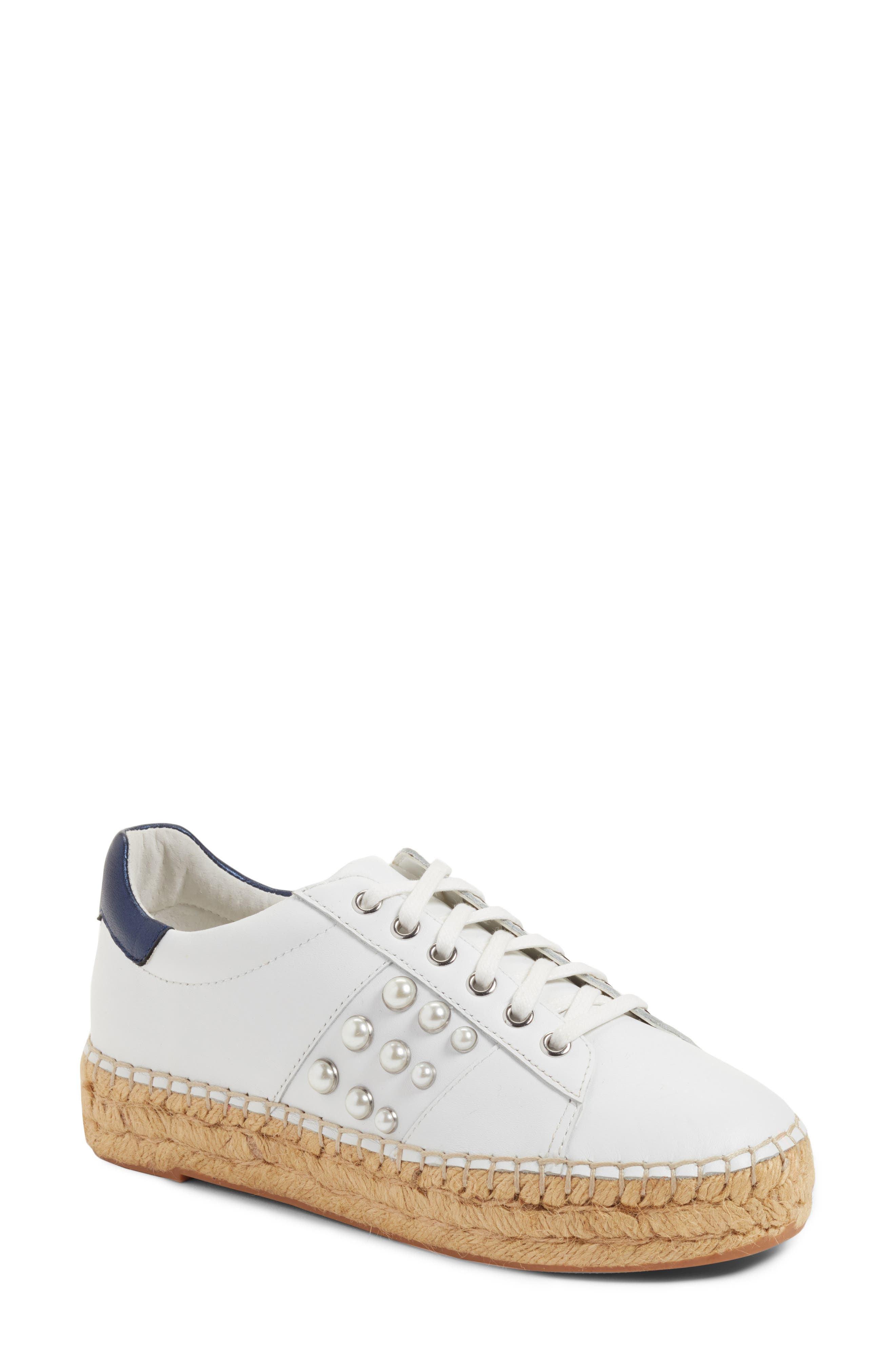 Marge Espadrille Platform Sneaker,                             Main thumbnail 1, color,                             White/ Navy Leather