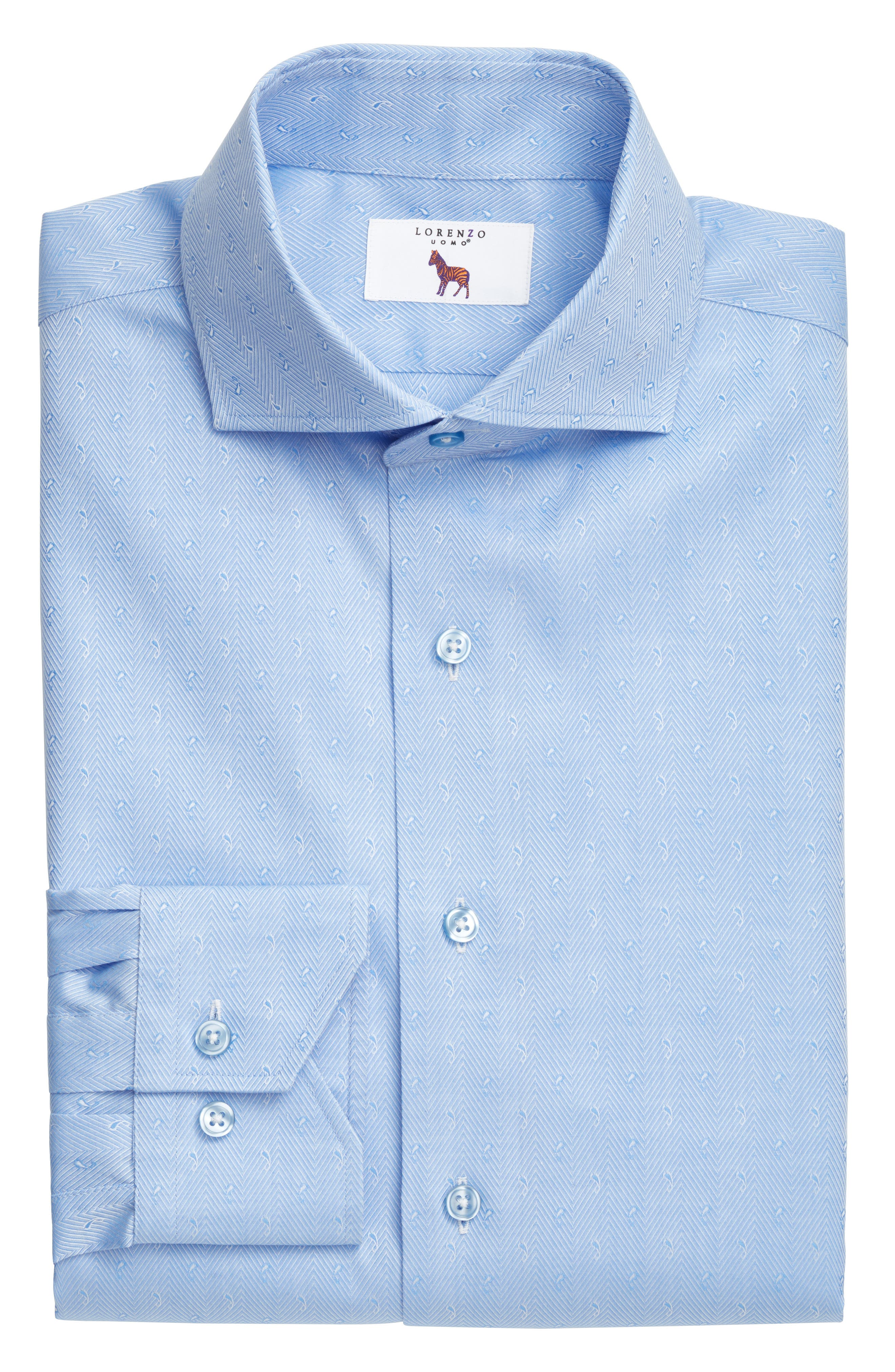Trim Fit Herringbone Dress Shirt,                             Alternate thumbnail 4, color,                             Light Blue