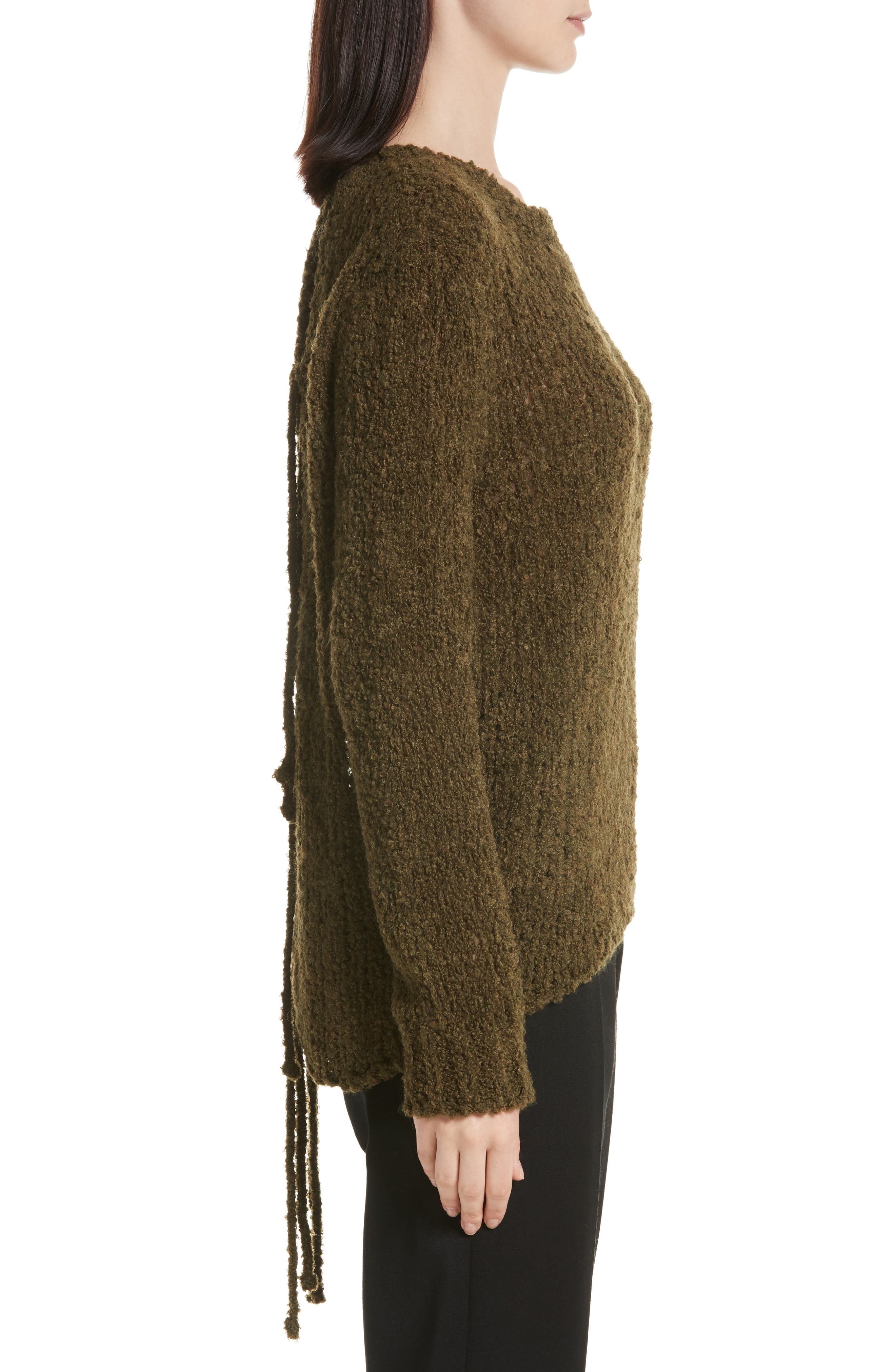 Cresent Cutout Sweater,                             Alternate thumbnail 3, color,                             Olive