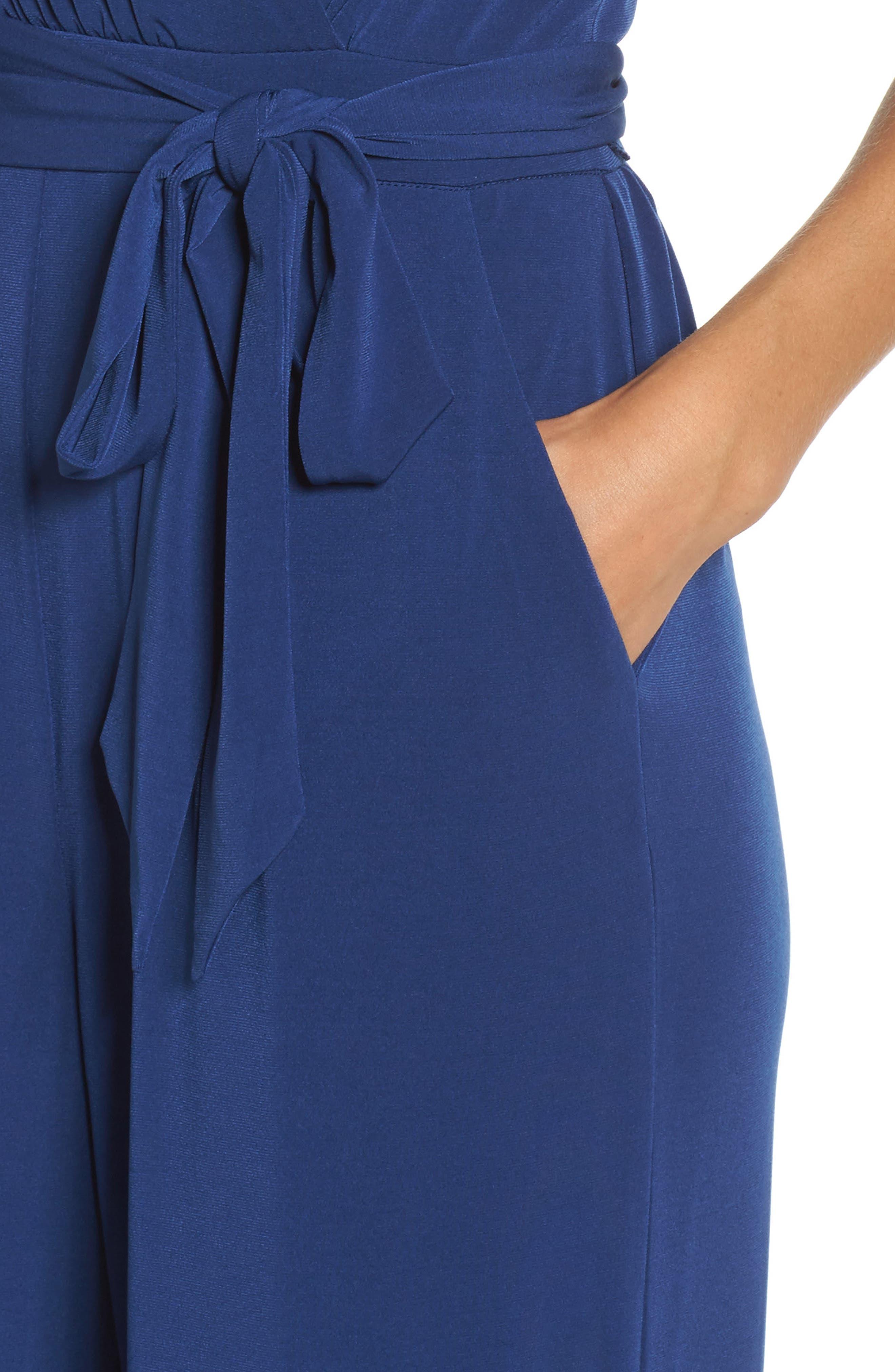 Alternate Image 4  - Vince Camuto Faux Wrap Jersey Jumpsuit (Regular & Petite)