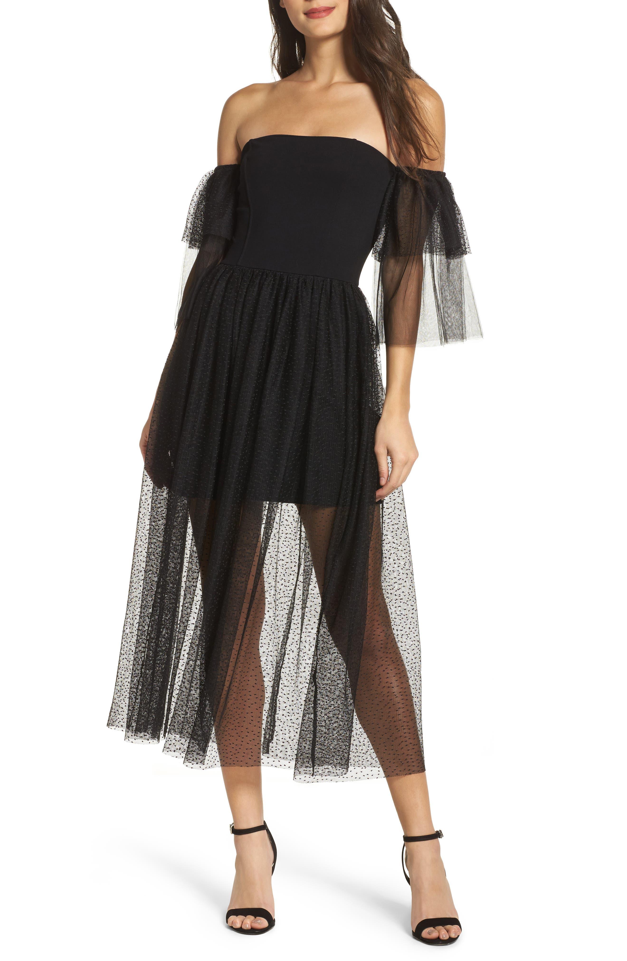 Valentin Off the Shoulder Midi Dress,                         Main,                         color, Black